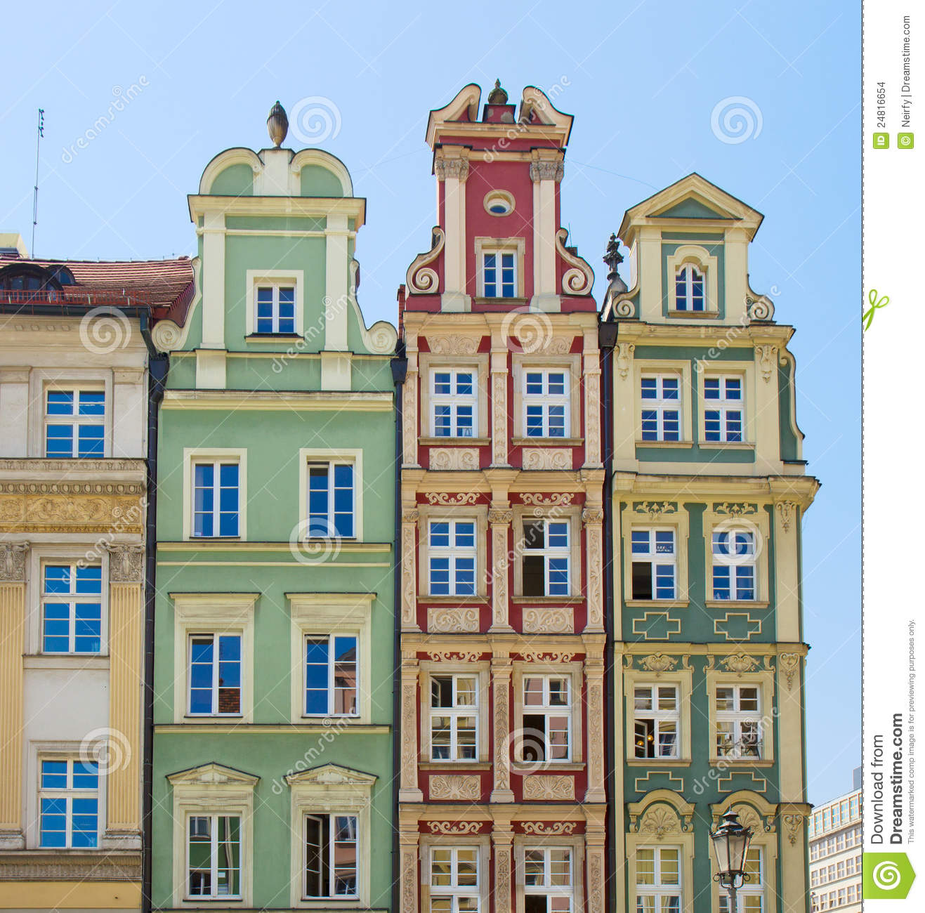 Facade of old houses stock photo image of wroclaw for Classic house facades