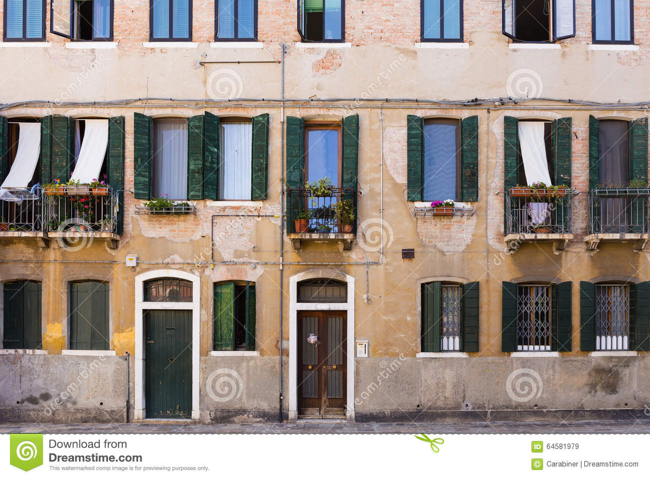 Facade of the old italian house stock image image of for Classic italian house