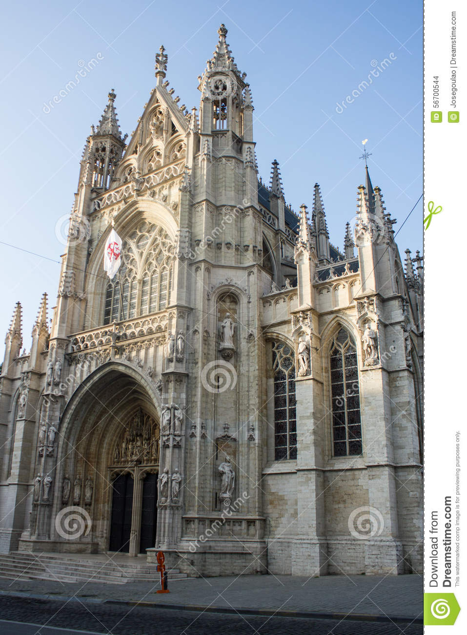Facade Of Our Blessed Lady Of The Sablon Church, Brussels