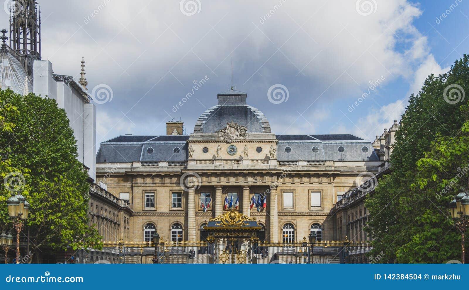 Facade of Palais de Justice in Paris, France