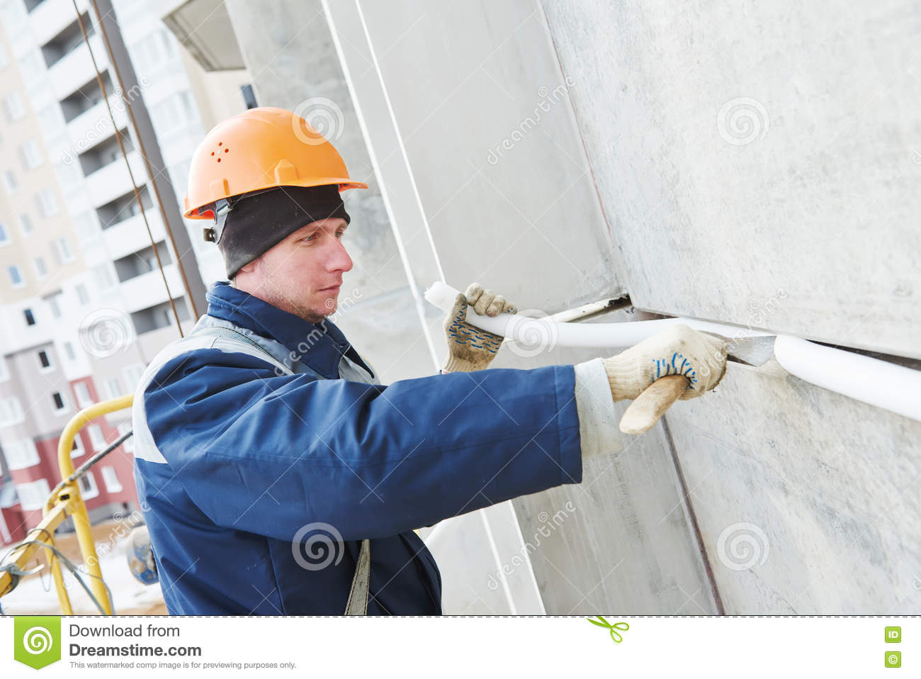 Facade Plasterer Sealing Joint Of Building Wall With Putty Mastic Stock Image Image 71799701