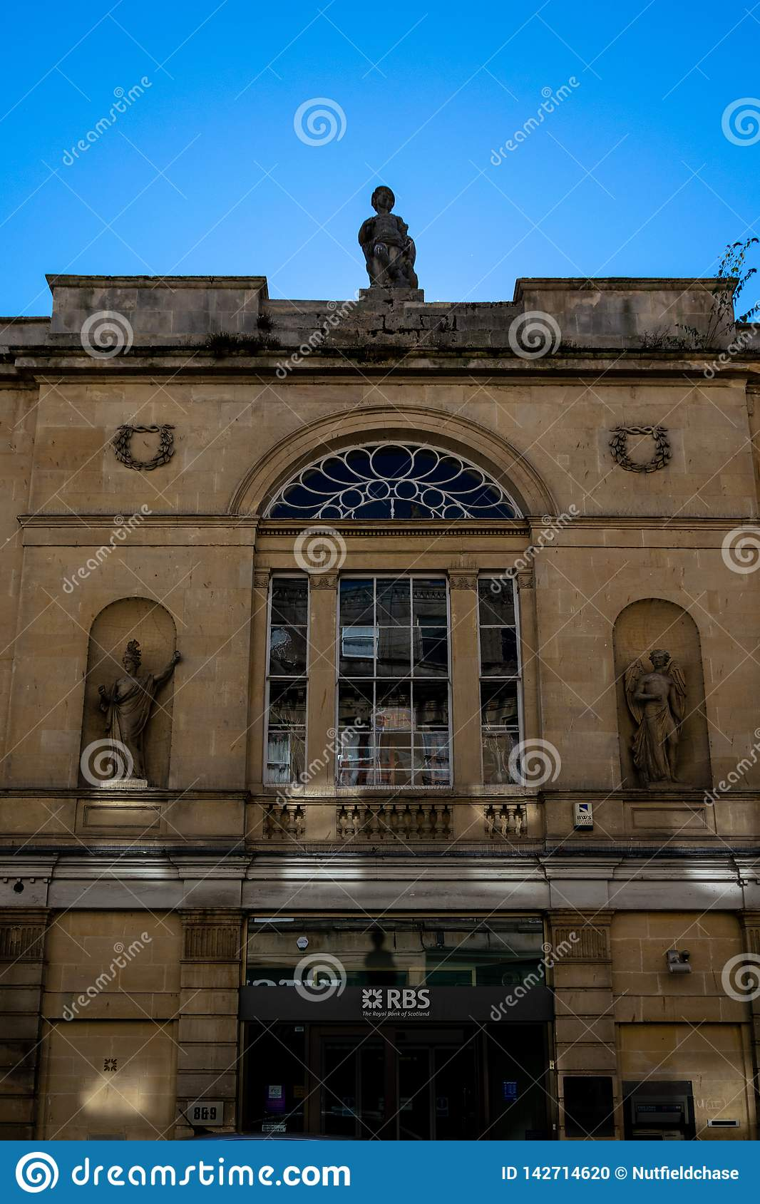 The Facade Of The RBS Bank At 8-9 Quiet Street, Bath In A