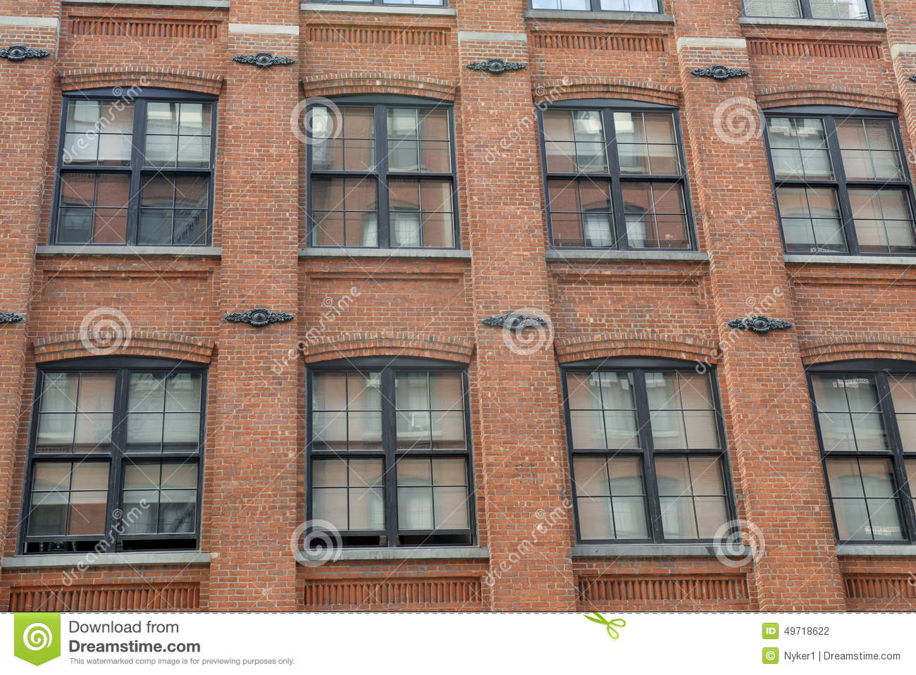 Facade of red brick building stock photo image of for Brick house construction