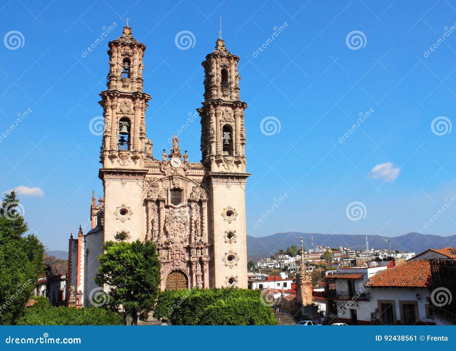 Facade of Santa Prisca Parish Church, Taxco de Alarcon city, Mex