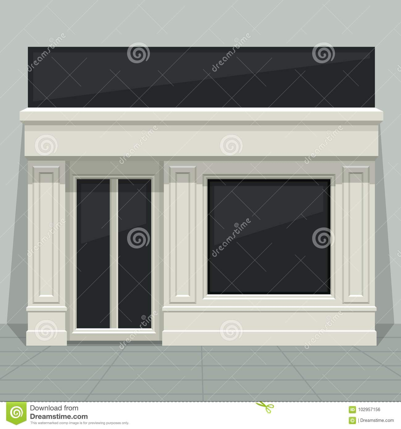 facade shop store boutique with glass windows and doors front stock vector illustration of. Black Bedroom Furniture Sets. Home Design Ideas