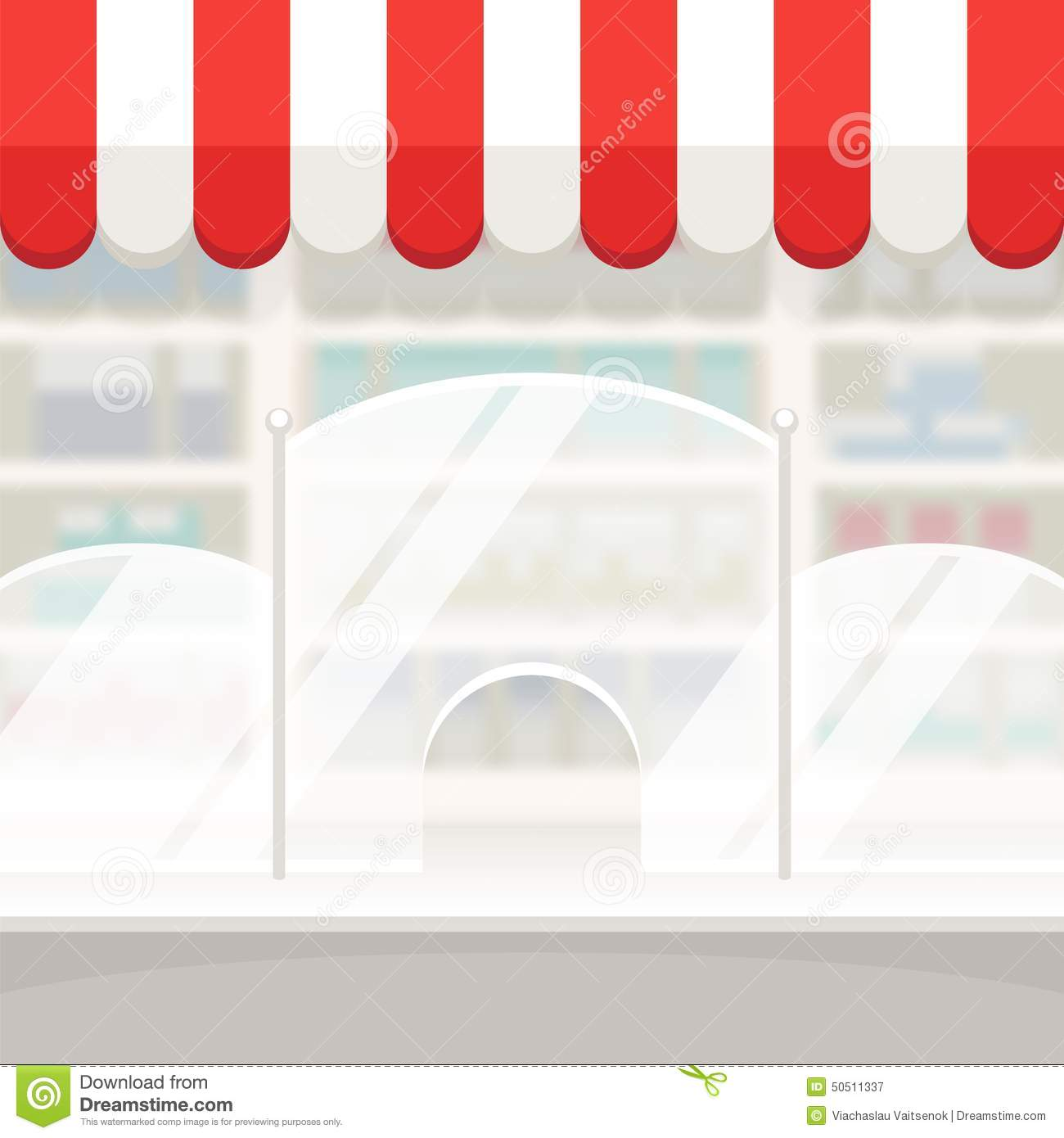 Facade Of A Shop Store Or Pharmacy Background Stock Vector