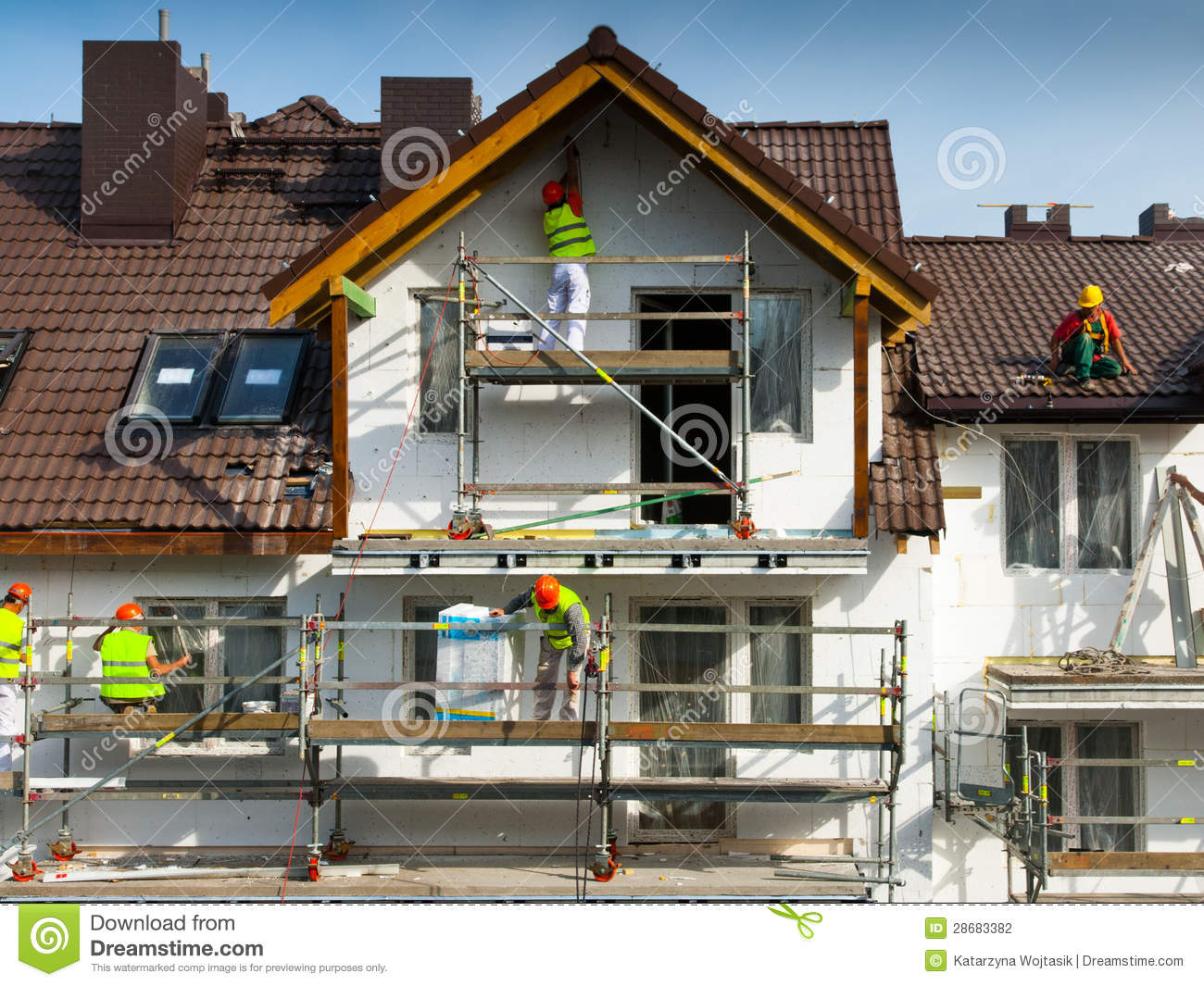 Facade Thermal Insulation And Painting Works Stock Photo