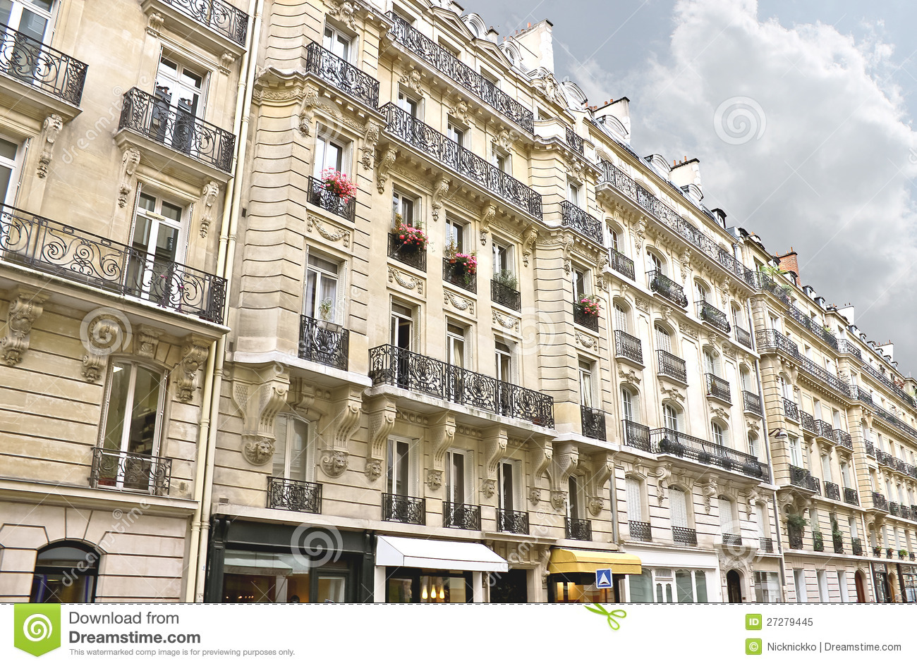 facade of a traditional building in paris stock image. Black Bedroom Furniture Sets. Home Design Ideas