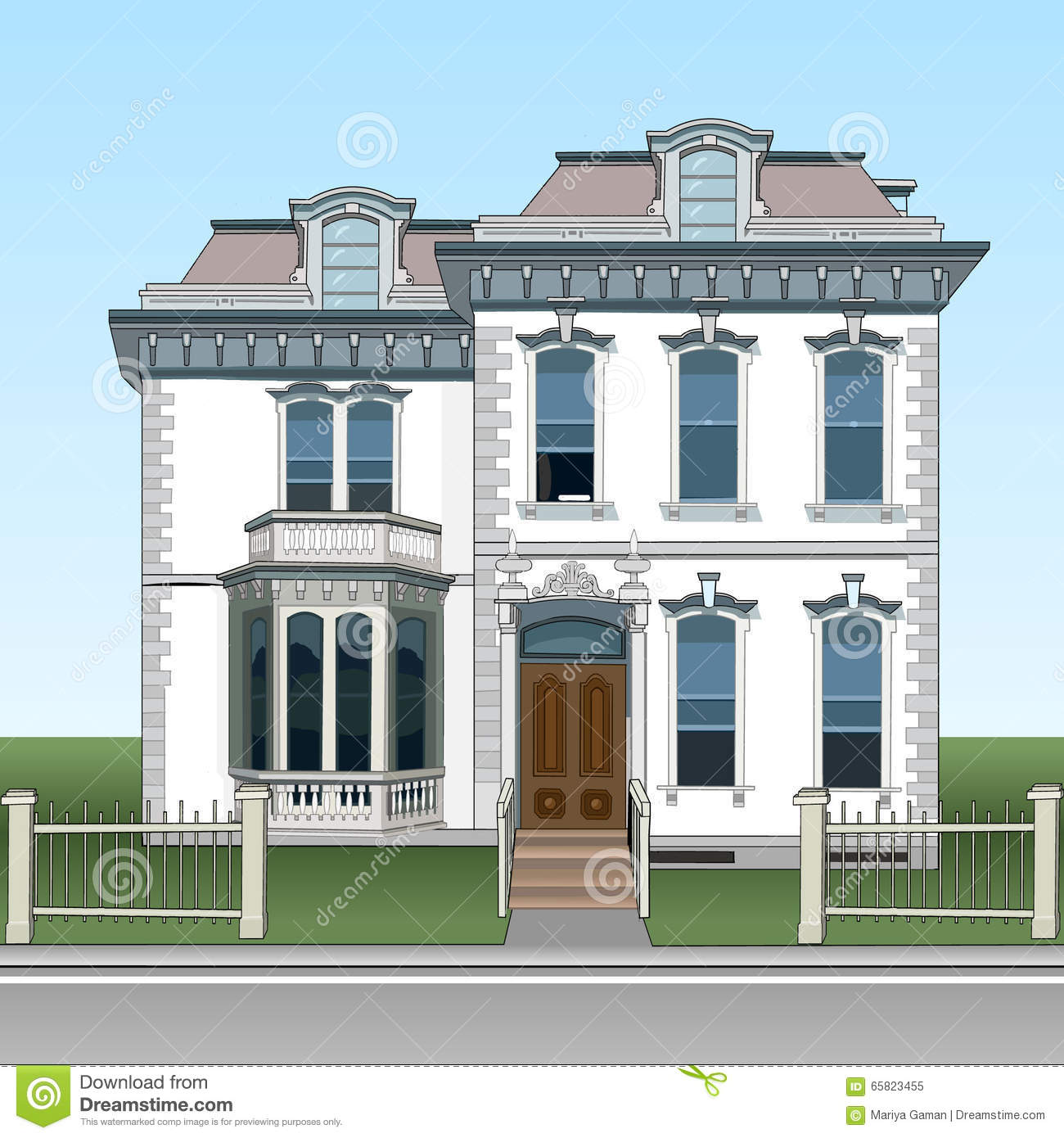 facade two storey house decorated with stucco individuality in
