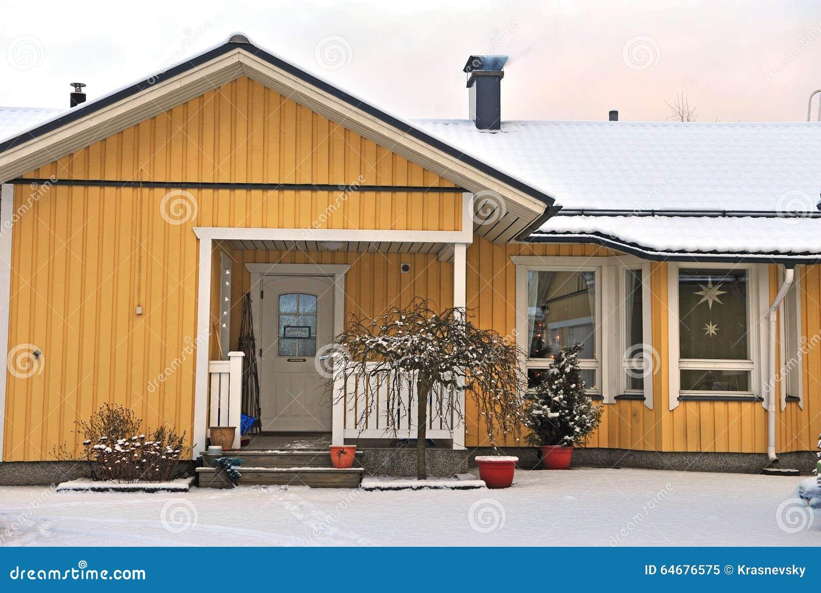 Facade Of A Typical Scandinavian House In Finland Editorial Image