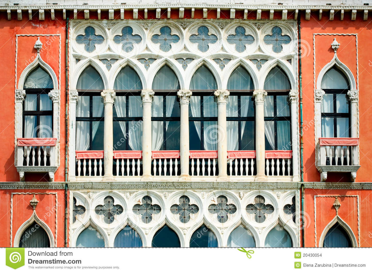 facade of a venetian building stock images image 20430054