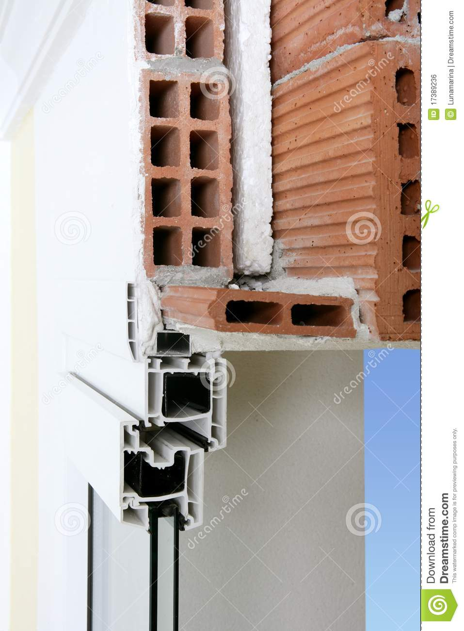 Pvc Window Section : Facade wall cross section of pvc window royalty free stock