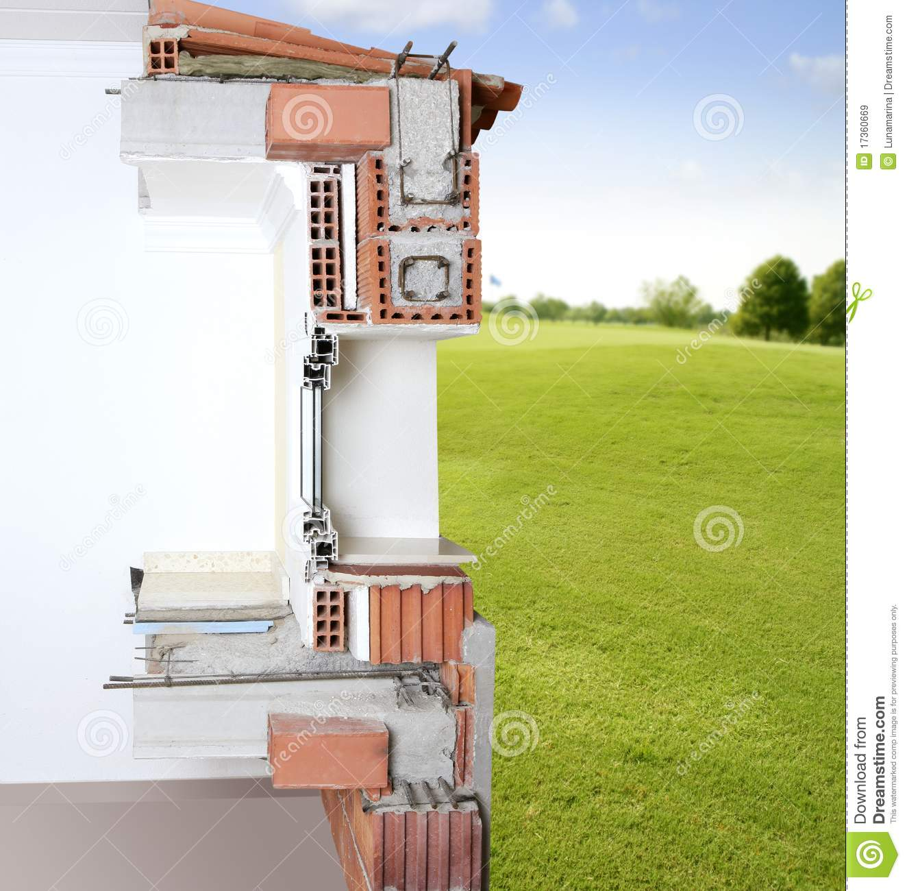 Block And Beam Floor Prices >> Facade Wall Cross Section Real Of Brick Blocks Stock Image ...