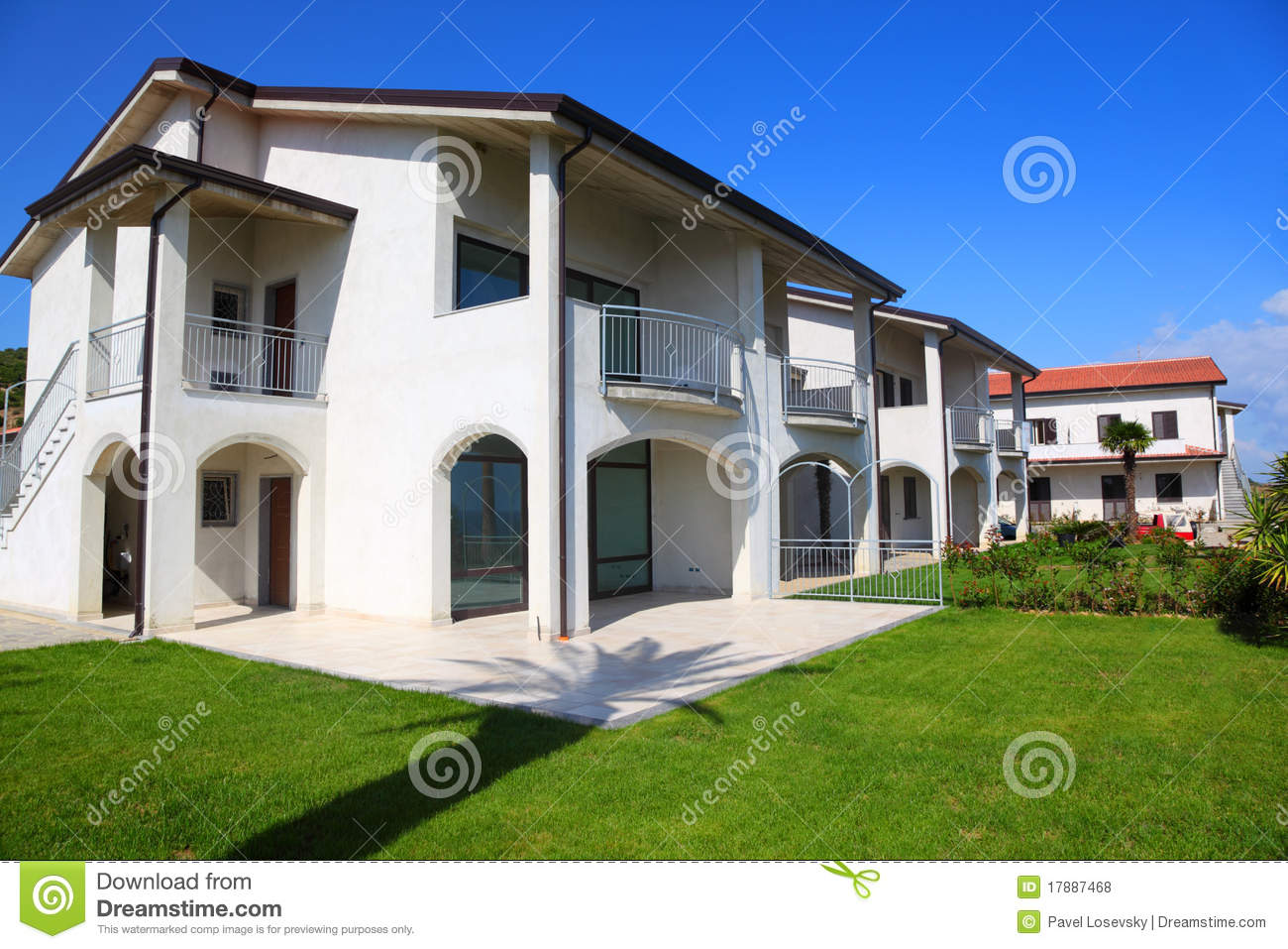 Facade Of White Two-story House With Garden Royalty Free Stock ...