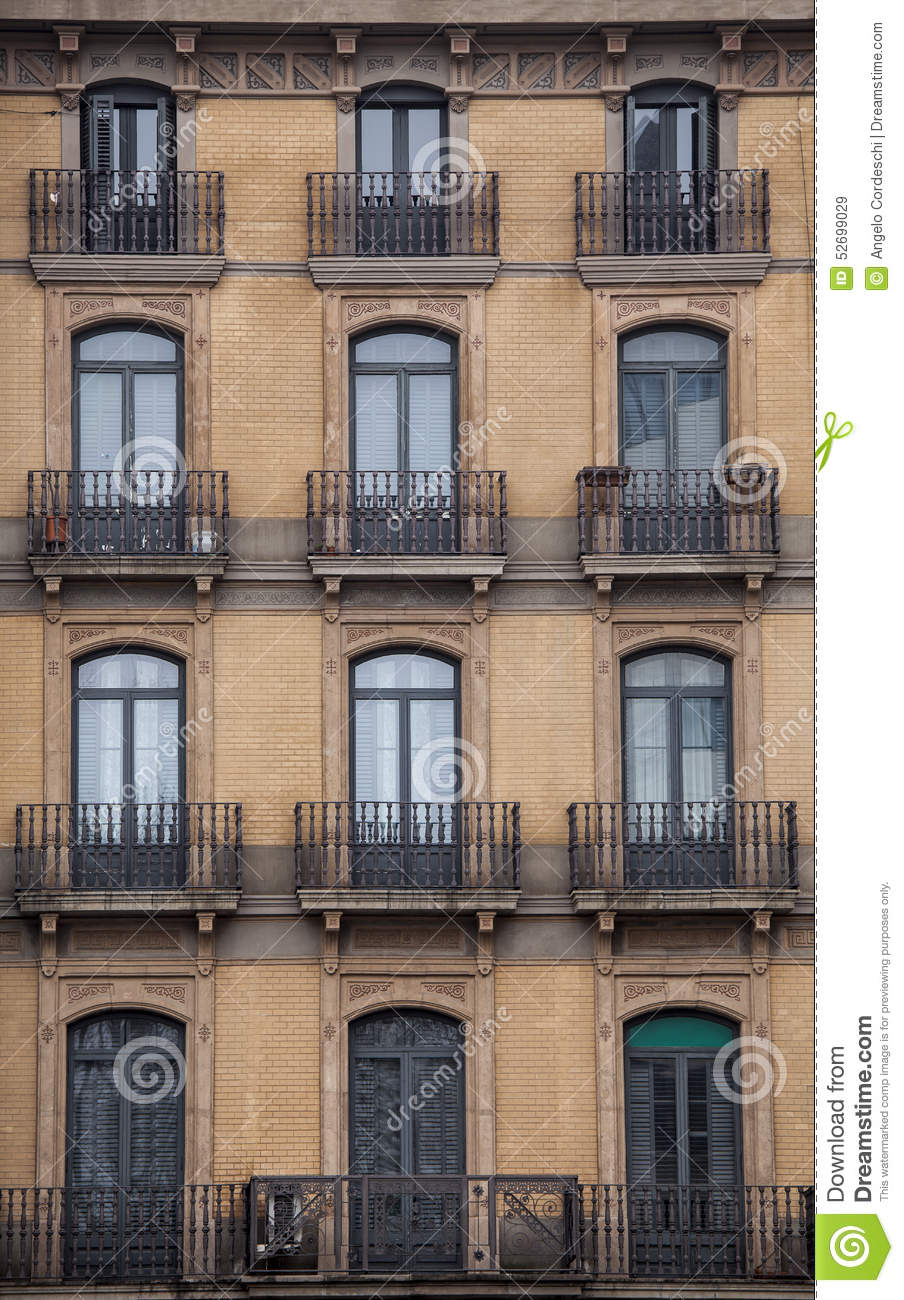city building windows. Facade With Windows And Balconies  Historic Building Barcelona City Spain Stock Image Of Decorative Entrance 52699029