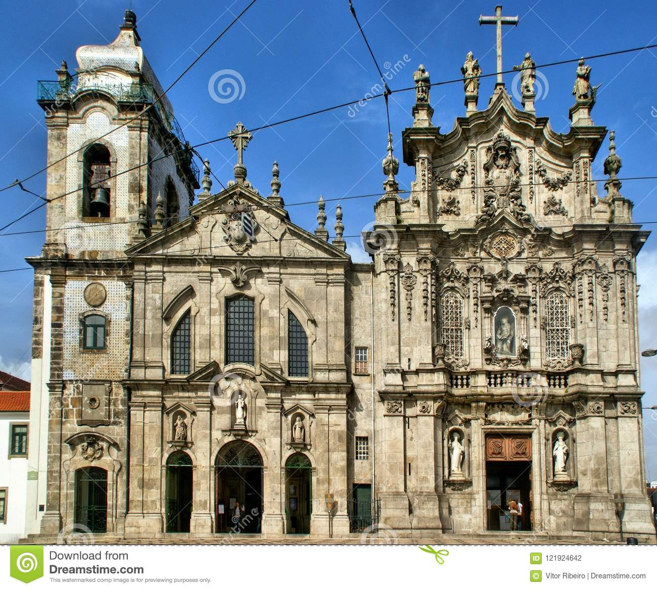 Facades of the churches of Carmo and Carmelitas in Porto