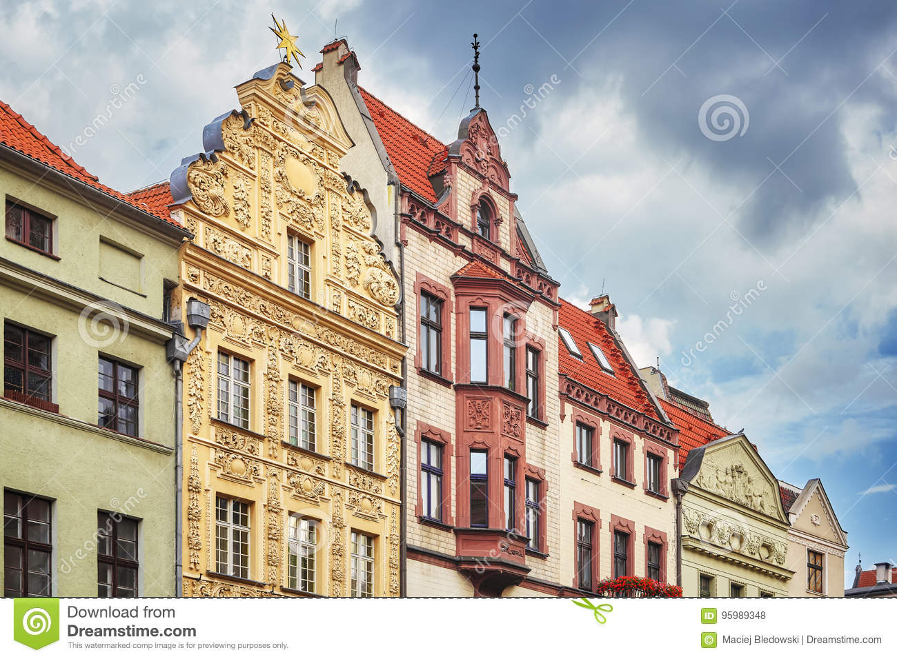 Facades of old houses in Torun old town, Poland