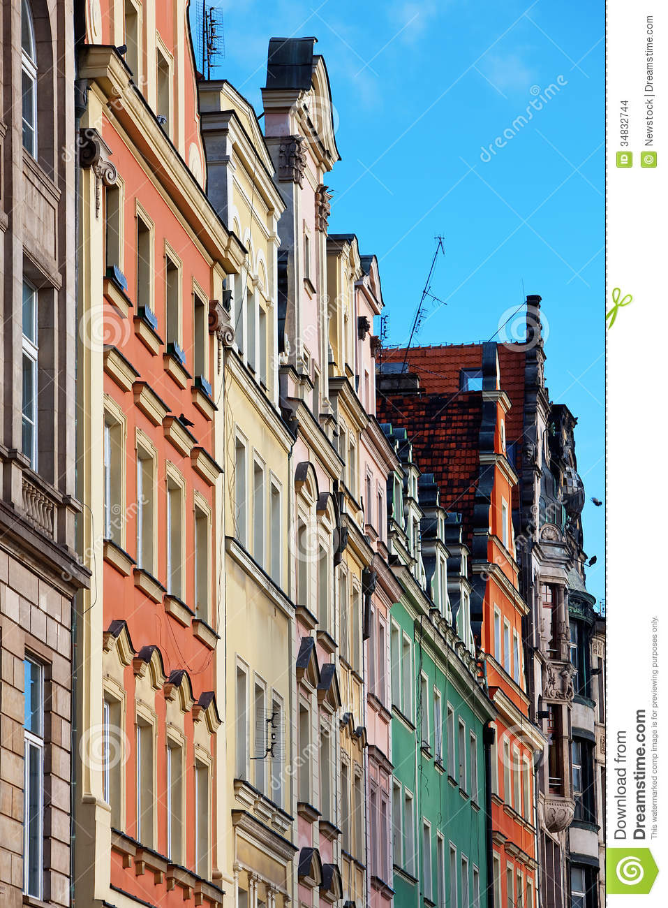 Facades Of Old Houses In Wroclaw Poland Stock Images