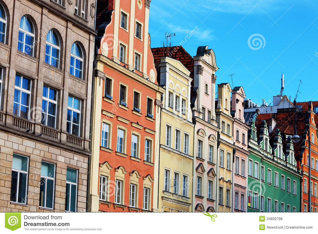 Facades Of Old Houses In Wroclaw Poland Royalty Free