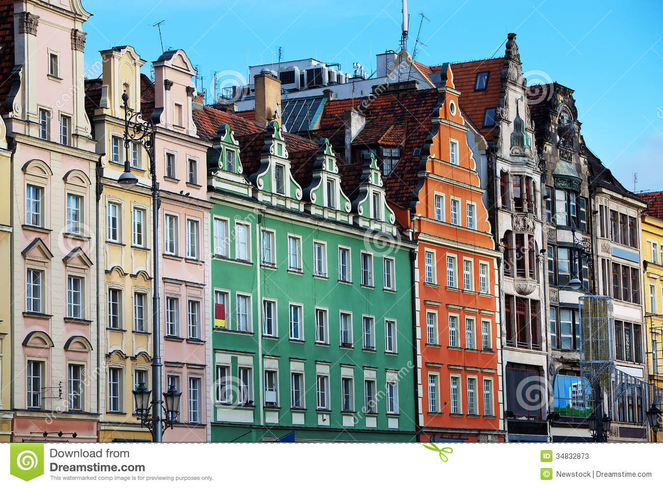 Facades Of Old Houses In Wroclaw Poland Stock Photos