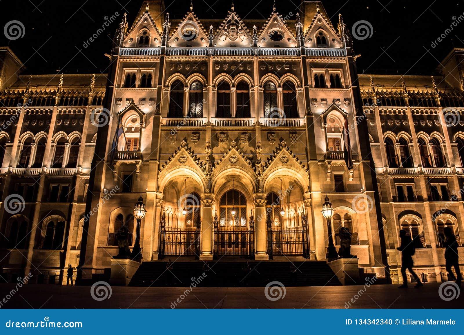Facciata del Parlamento di Budapest alla notte con le siluette dei turisti che passeggiano, Ungheria