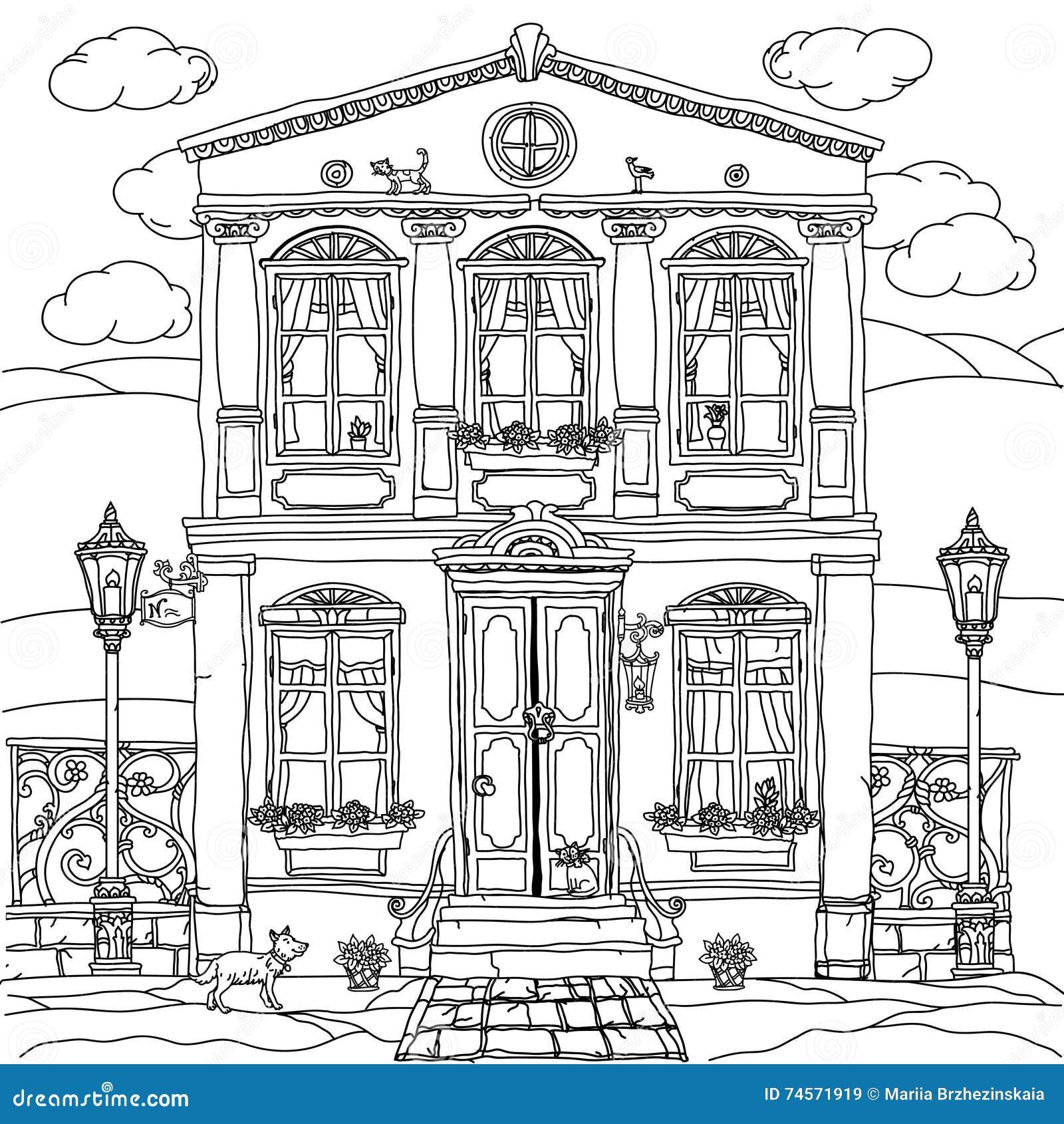 Facciata Di Una Casa Con I Fiori Illustrazione Vettoriale