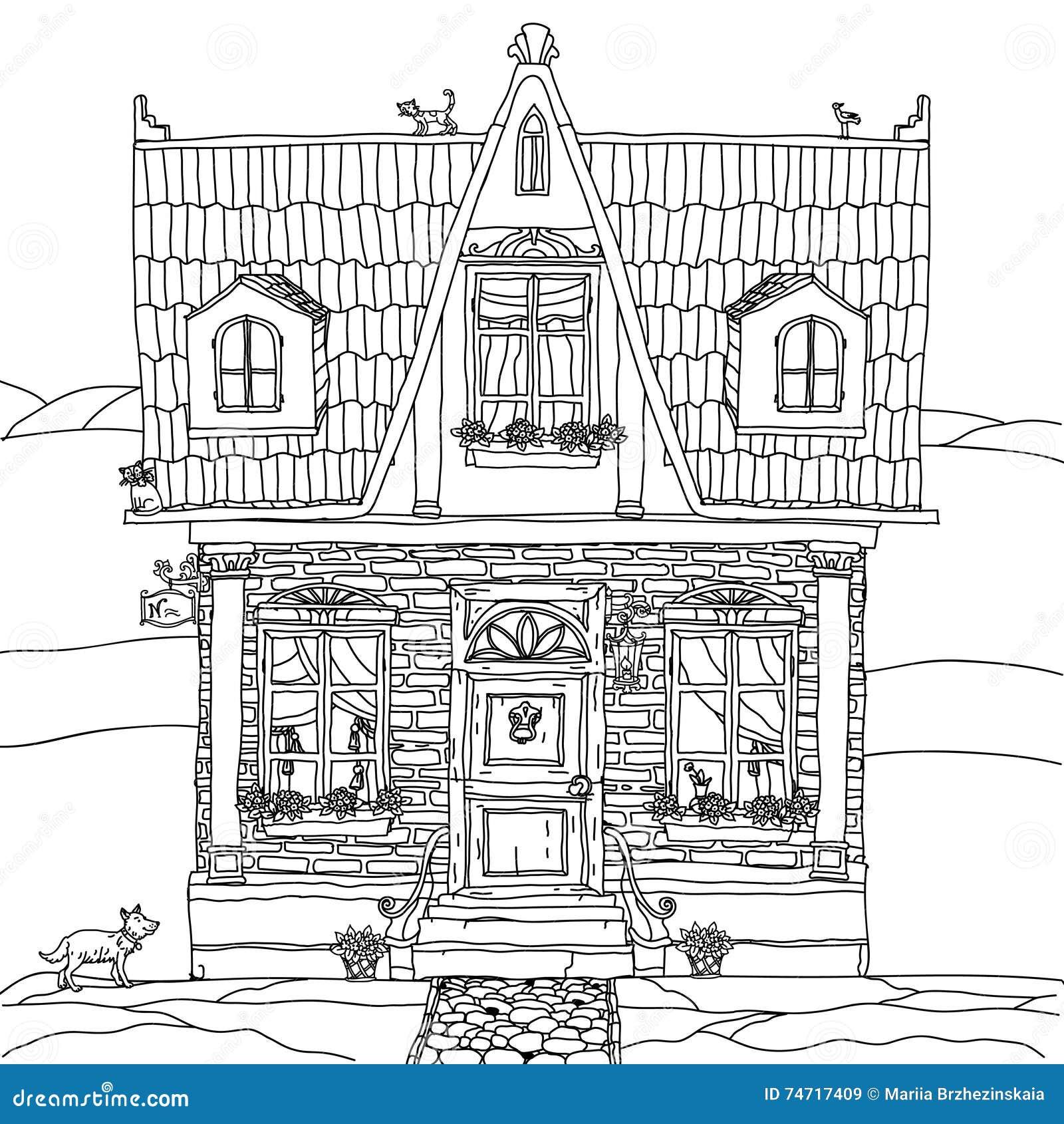 Facciata di una casa con i fiori illustrazione vettoriale for Disegno interno casa