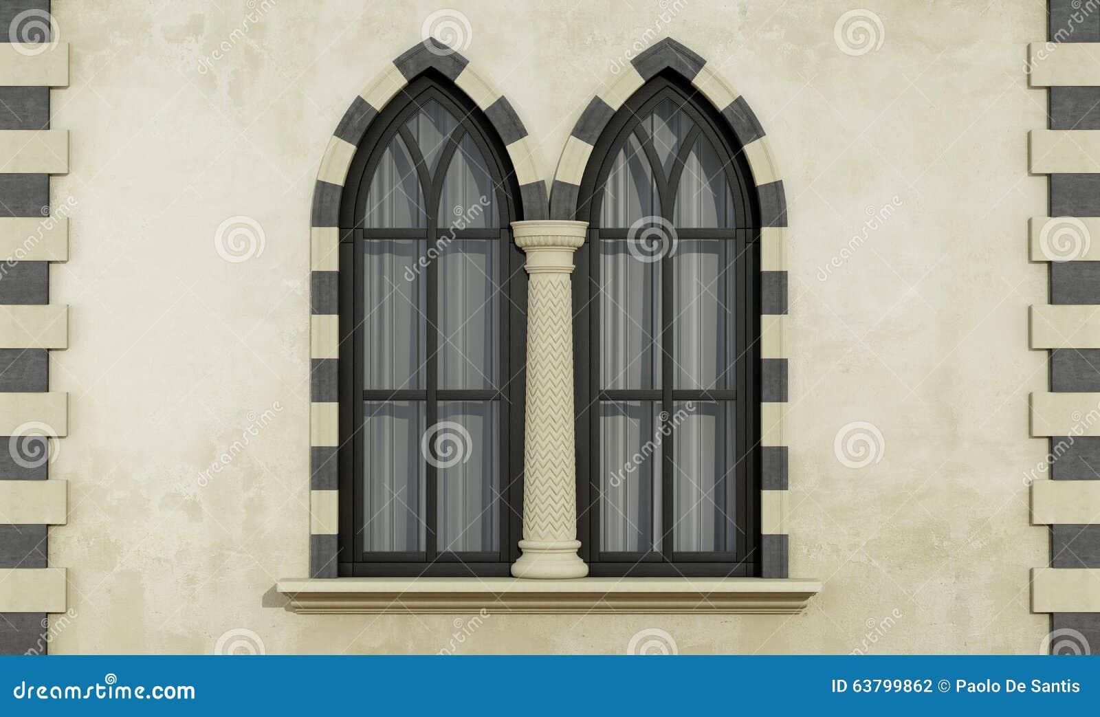 Facciata Gotica Con Le Finestre Illustrazione Di Stock