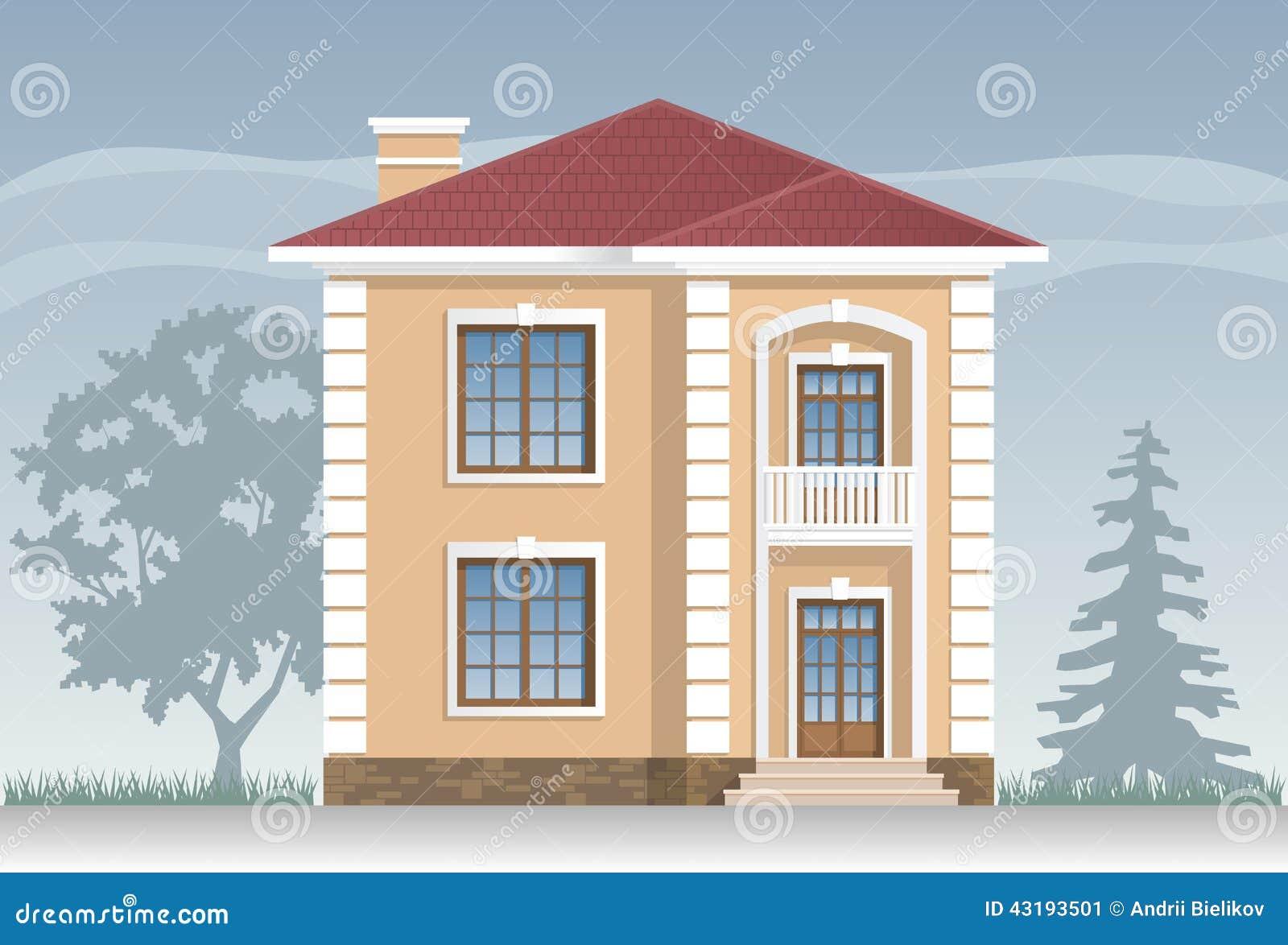Facciata residenziale della casa illustrazione vettoriale for 30x40 planimetrie della casa