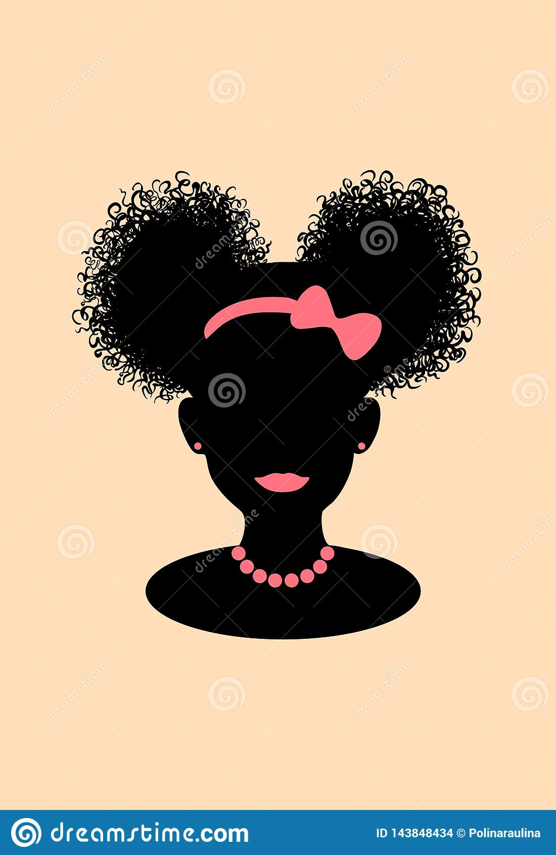 Prime Little Black African American Girl Head With Curly Pony Tail Puffs Natural Hairstyles Runnerswayorg