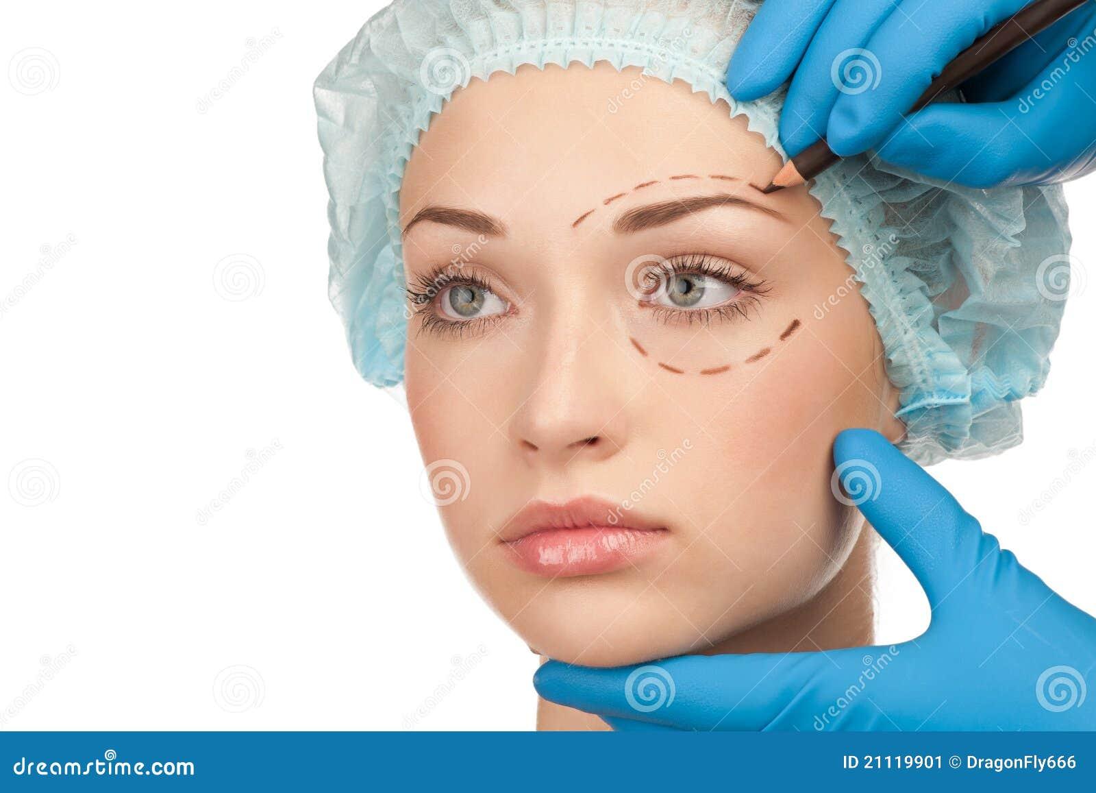 Face antes da operação da cirurgia plástica