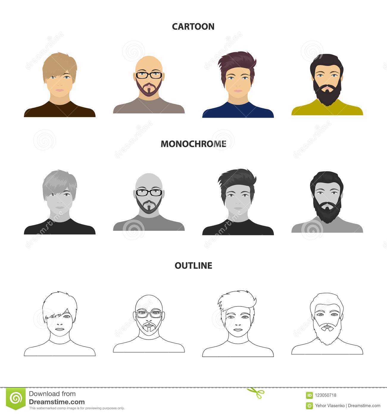The face of a Bald man with glasses and a beard, a bearded man, the appearance of a guy with a hairdo. Face and