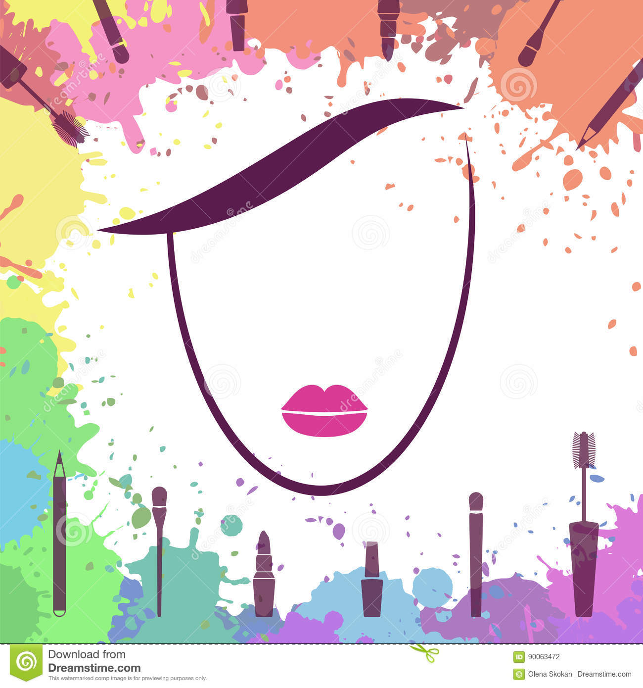 Face Of Beautiful Girl Makeup Artist Logo Template Woman