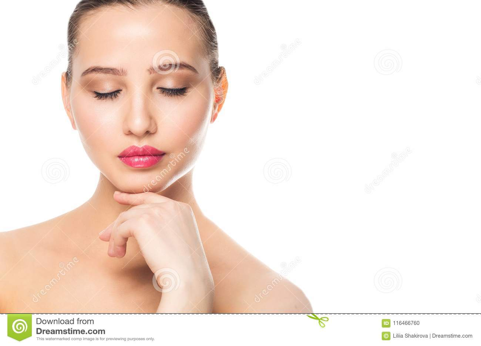 Face of a beautiful woman, closeup portrait. Spa, makeup, care, clean skin concept