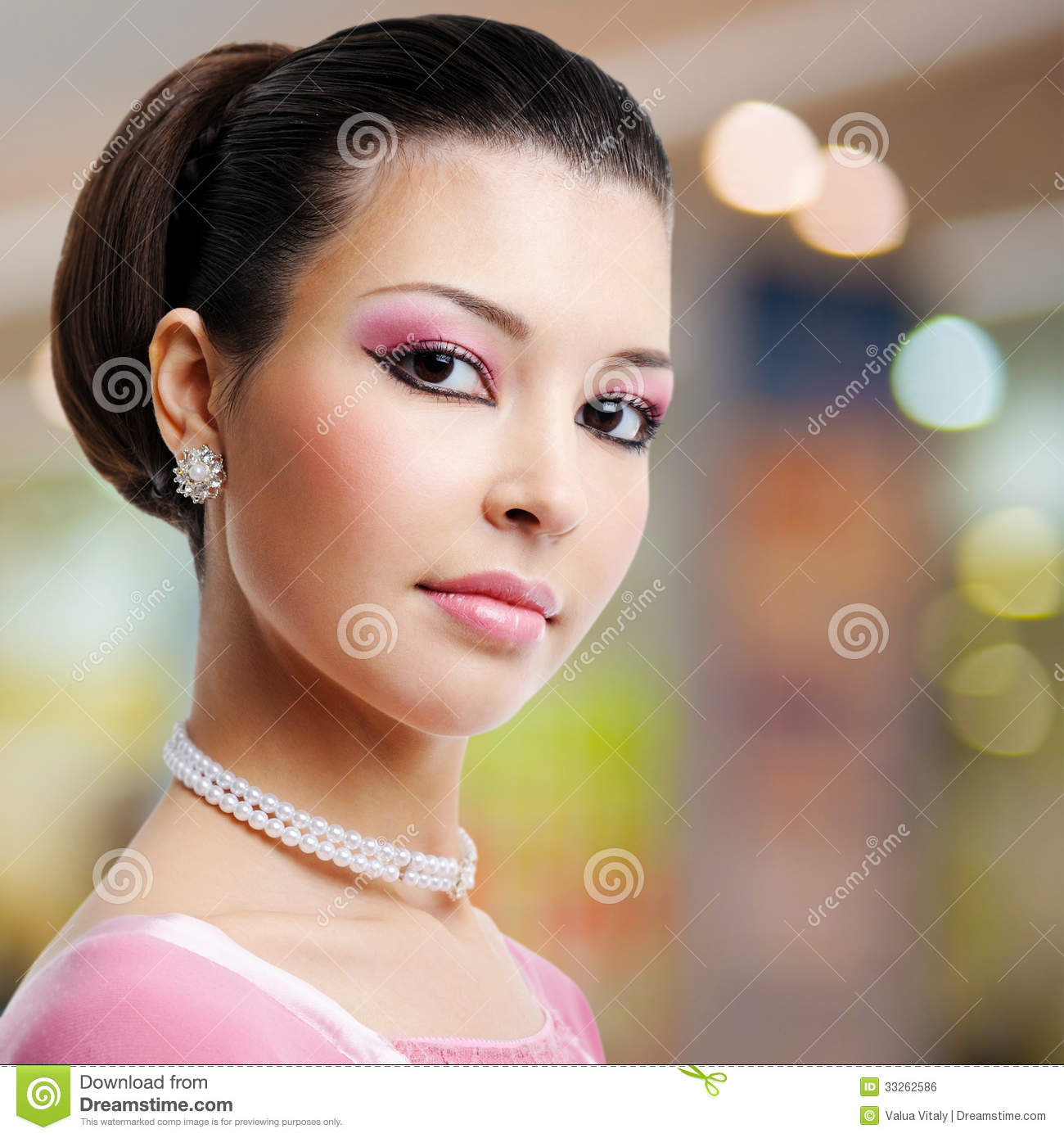 Face Of Beautiful Woman With Fashion Hairstyle And Glamour Makeu Royalty Free Stock Image ...