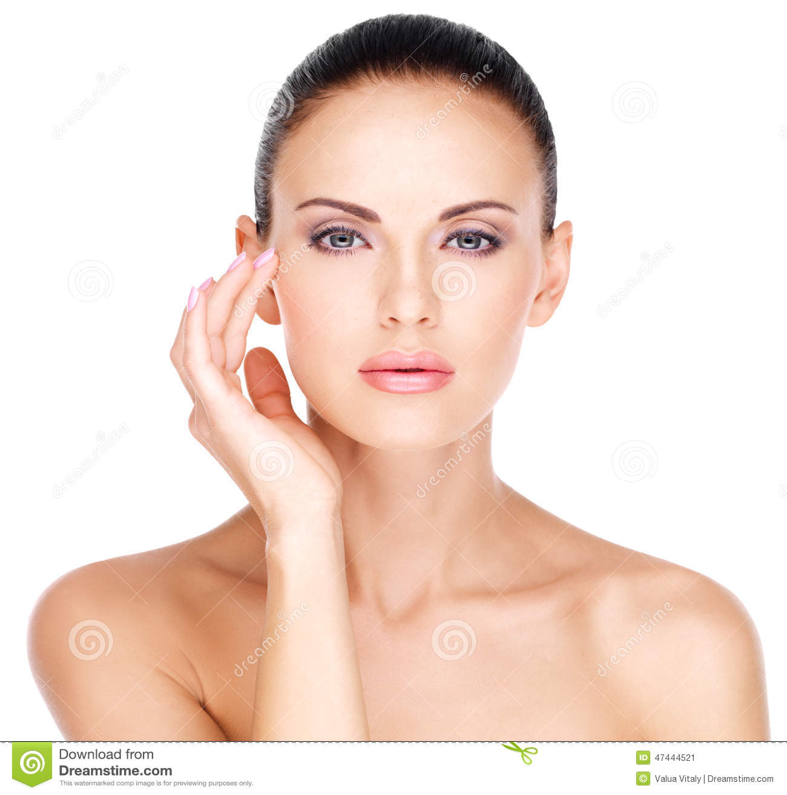 Face Of A Beautiful Woman Who Touching Skin Near Eyes