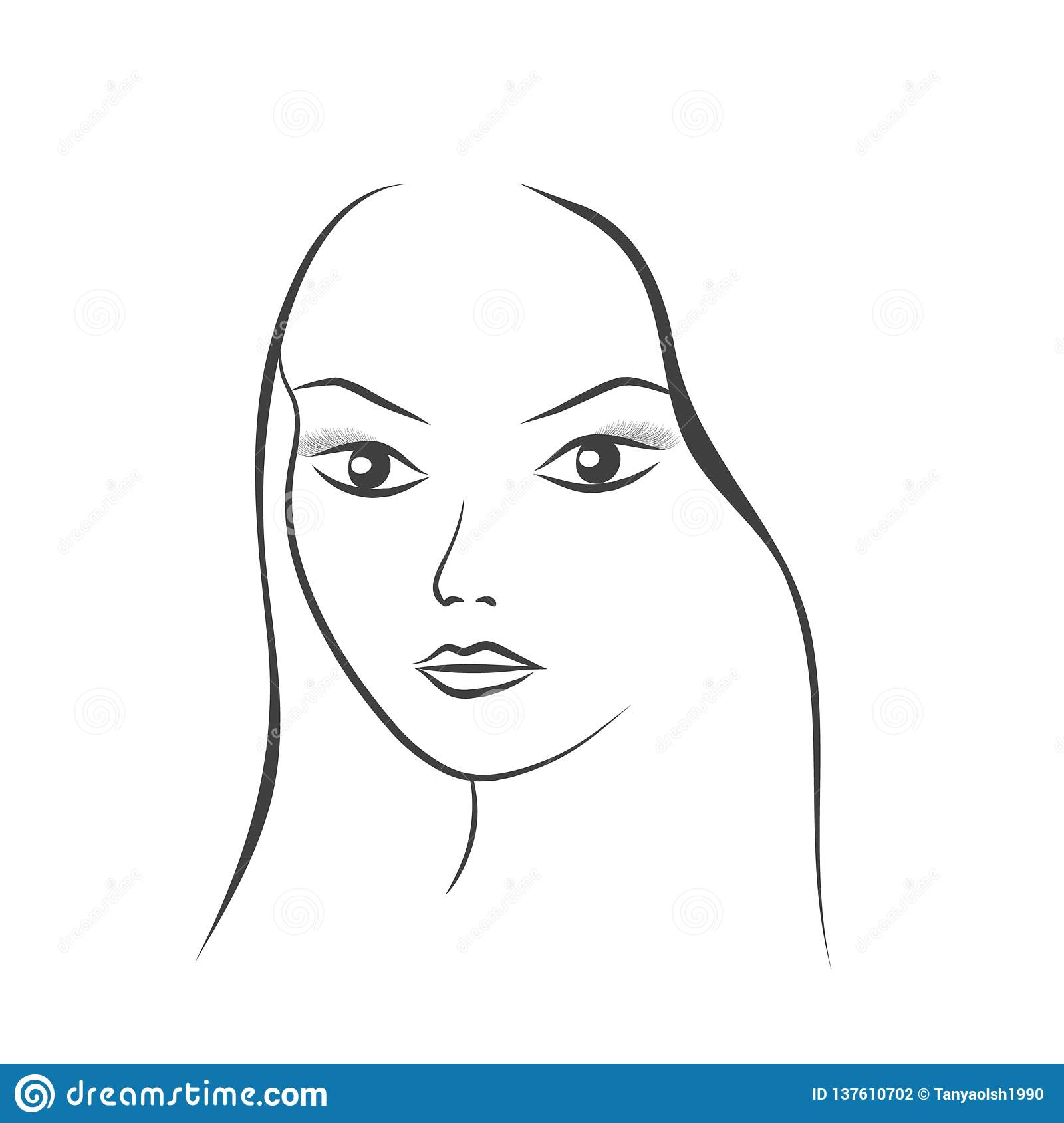 Face Of A Beautiful Young Woman Sketch Vector Illustration