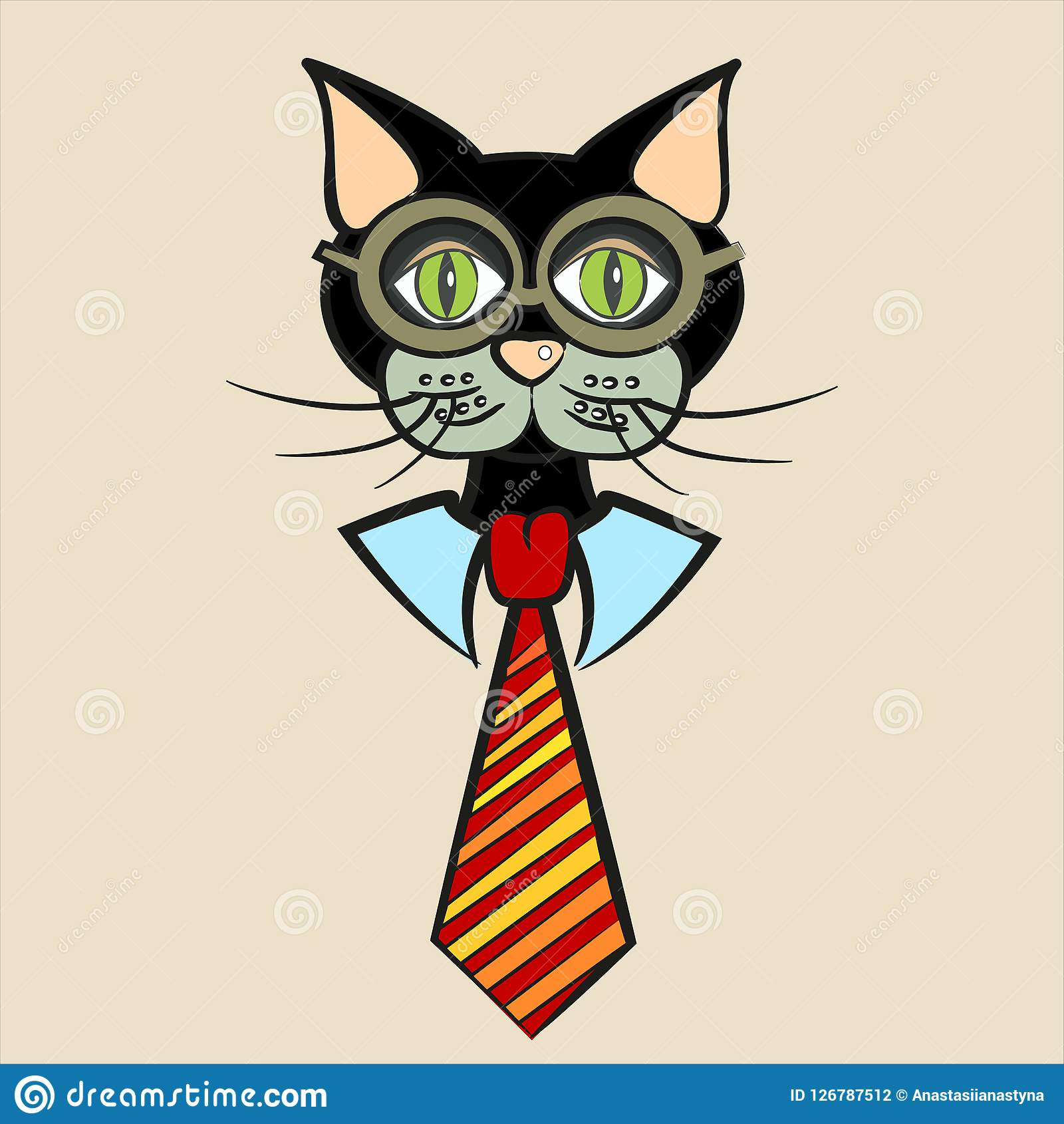 667c70dbdbcc Black Cat In Glasses, Shirt And Tie Stock Vector - Illustration of ...