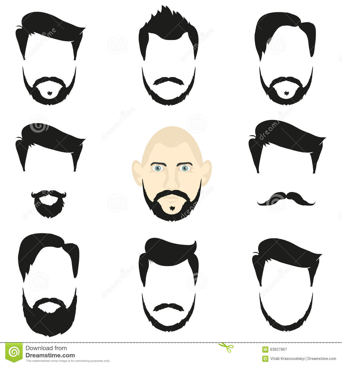 Hair Style Template: Face Blank Templates Hairstyles And Beards, Hipster Style