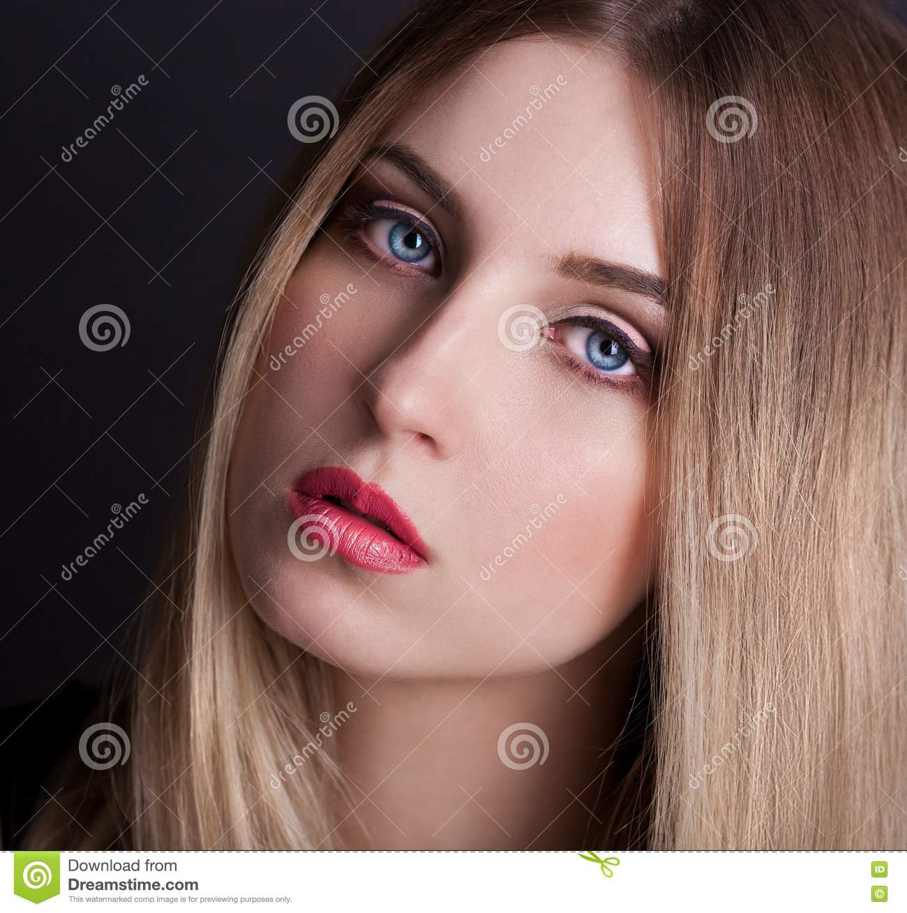 Face Blue Eyes Black Background Ombre Hair Stock Image Image