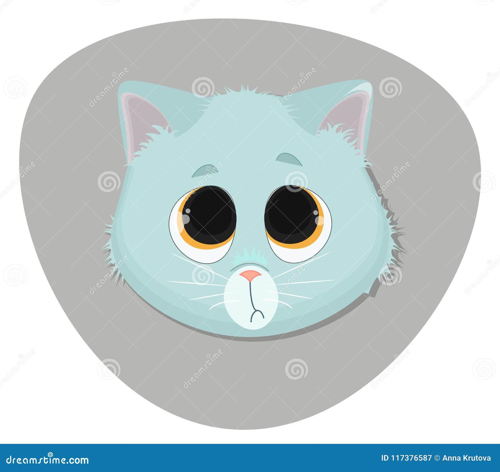 Face bonito do gatinho Ilustração lisa dos desenhos animados