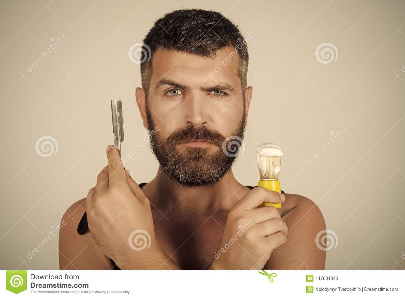 Download Face Boy For Magazine Cover. Man Face Portrait In Your Advertisnent. Serious Hipster In Barbershop, New Technology. Stock Image - Image of master, long: 117601343