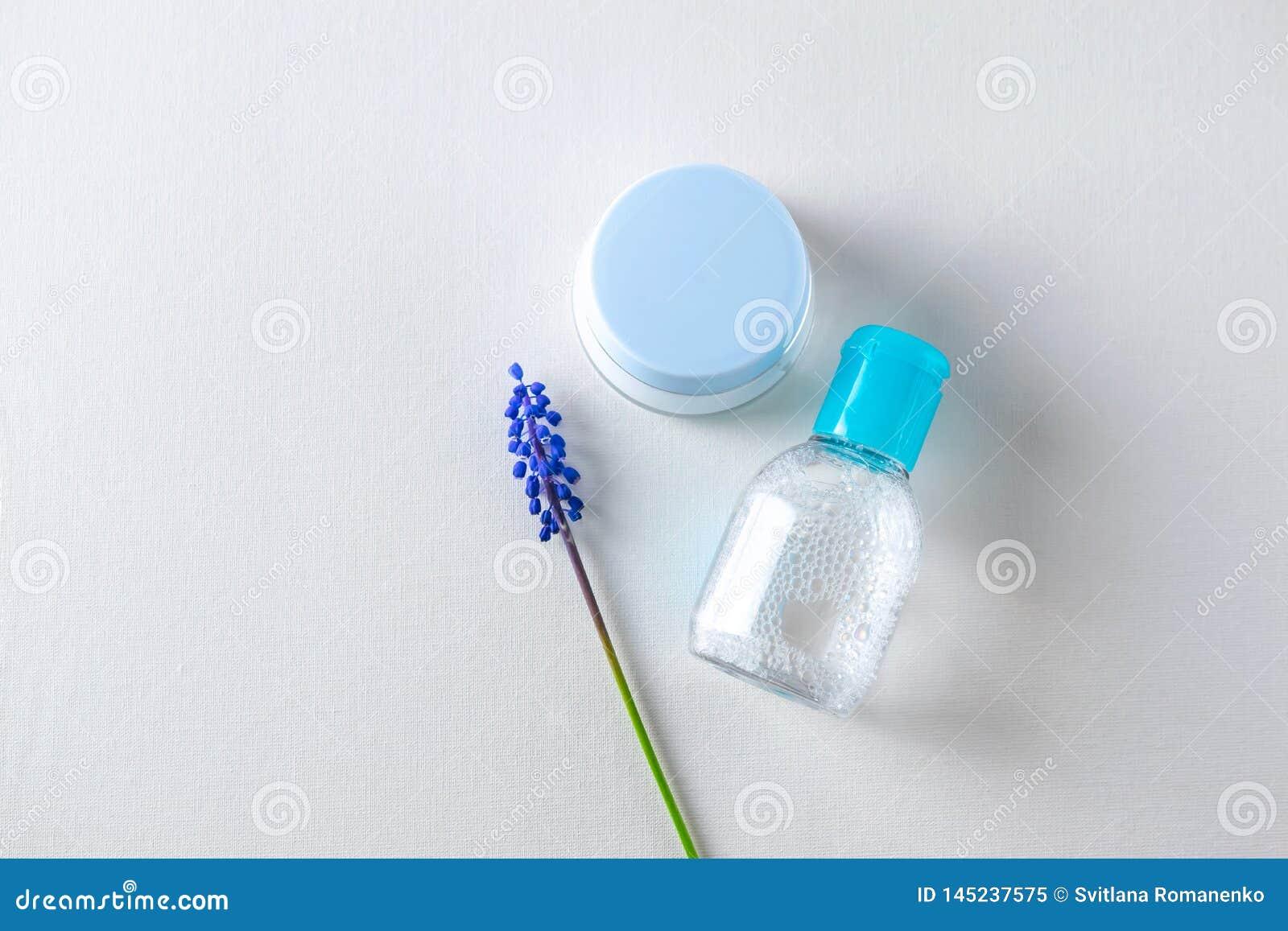 Face care treatment cosmetics overhead flat lay