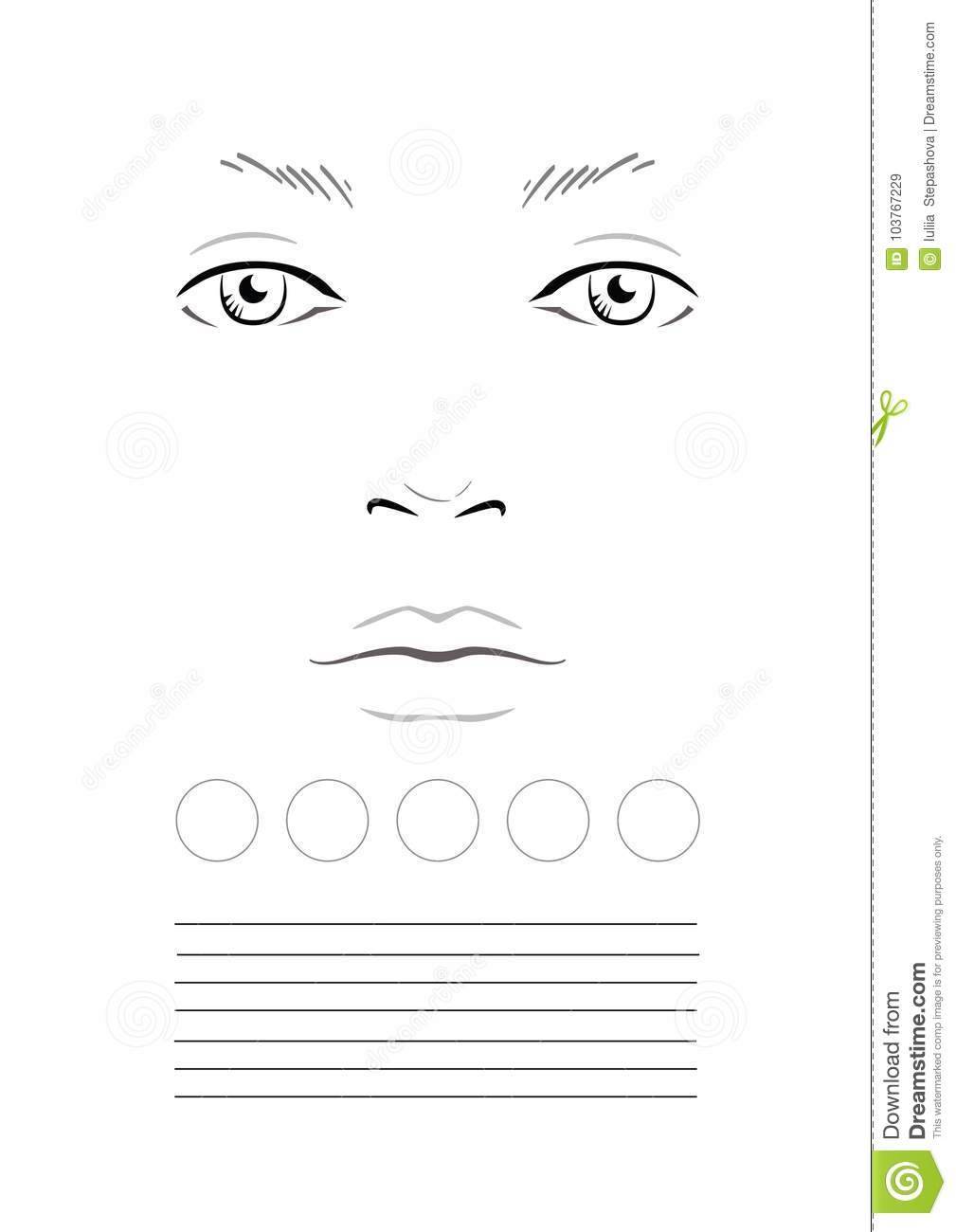Face chart makeup artist blank template stock illustration download face chart makeup artist blank template stock illustration illustration of eyes maxwellsz