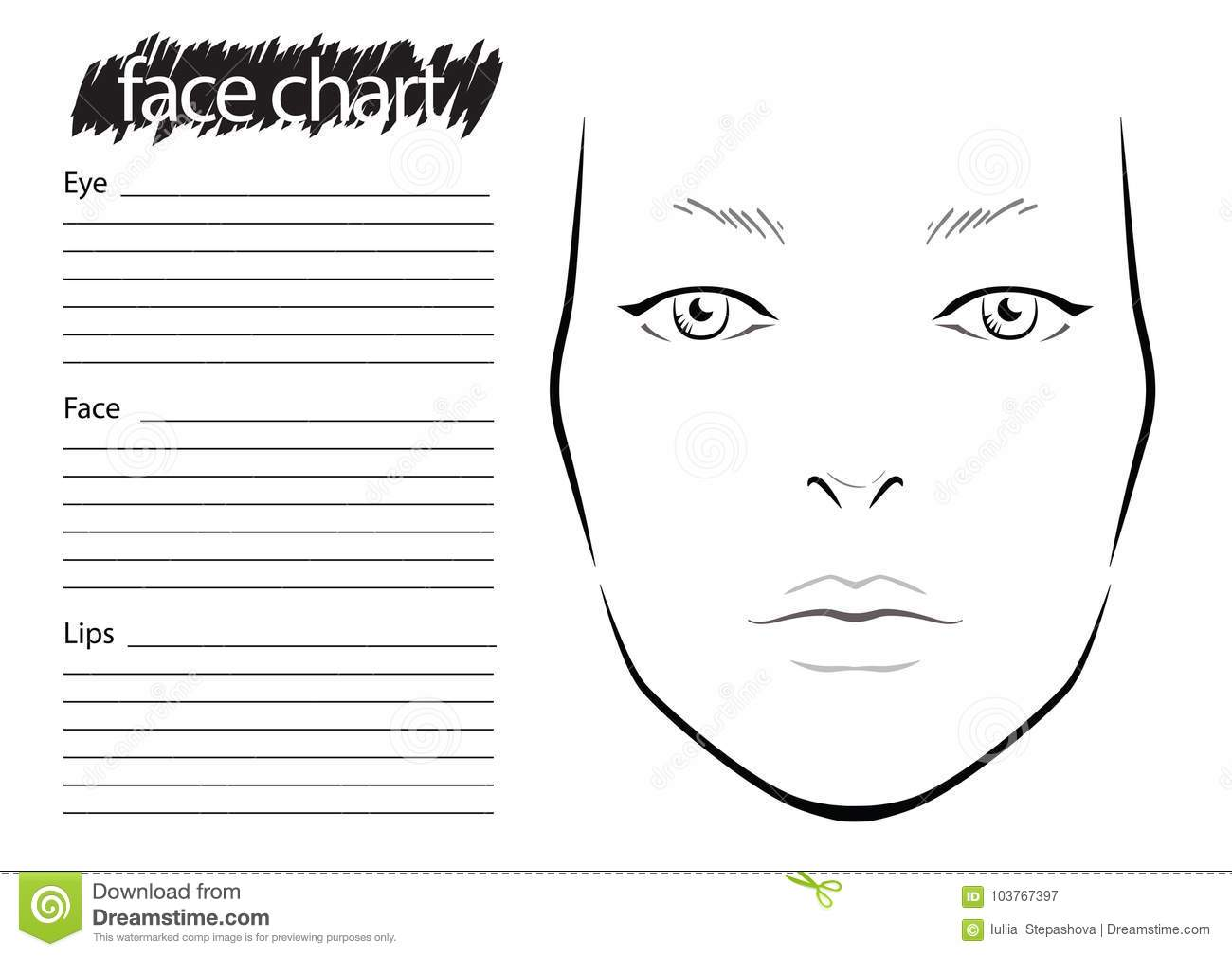 Face chart makeup artist blank template stock illustration download face chart makeup artist blank template stock illustration illustration of chart maxwellsz