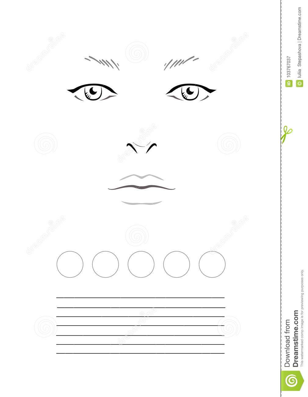 Face Chart Makeup Artist Blank. Template. Stock Image - Image of ...