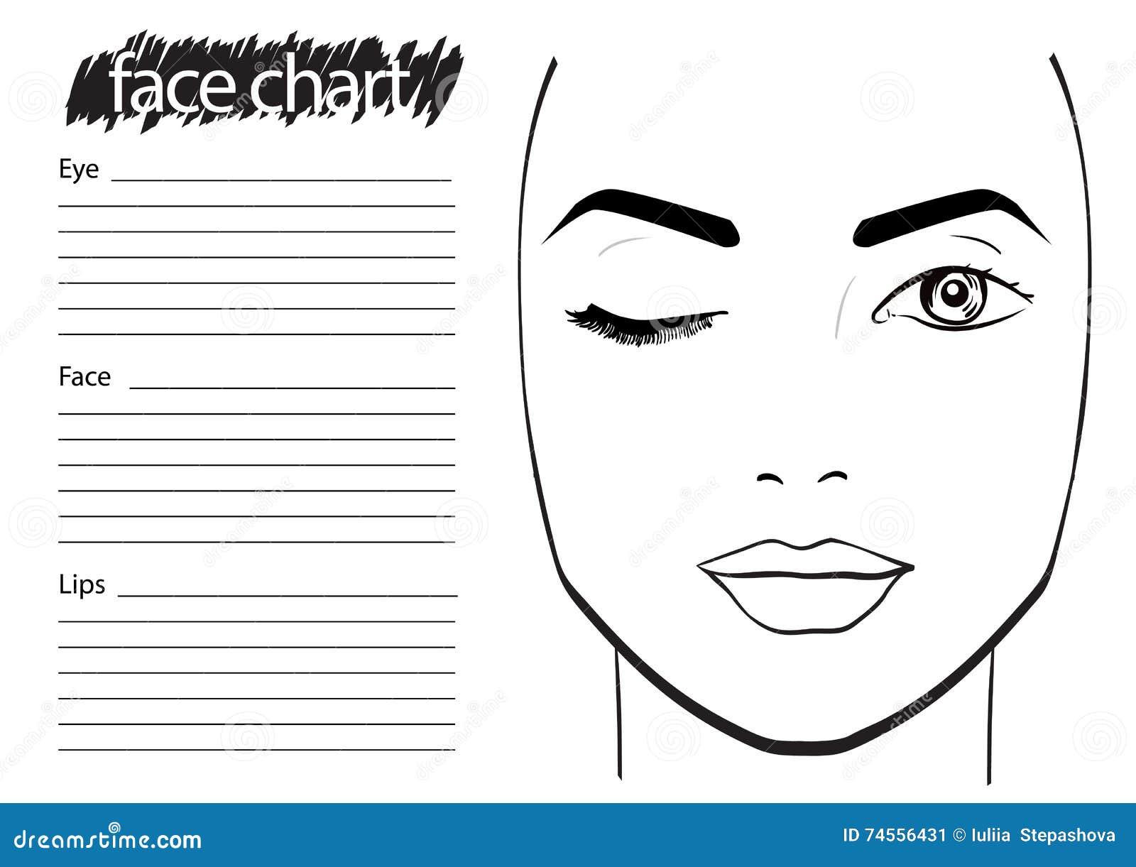 Face Chart Makeup Artist Blank Stock Illustration Illustration Of Fashion Element 74556431