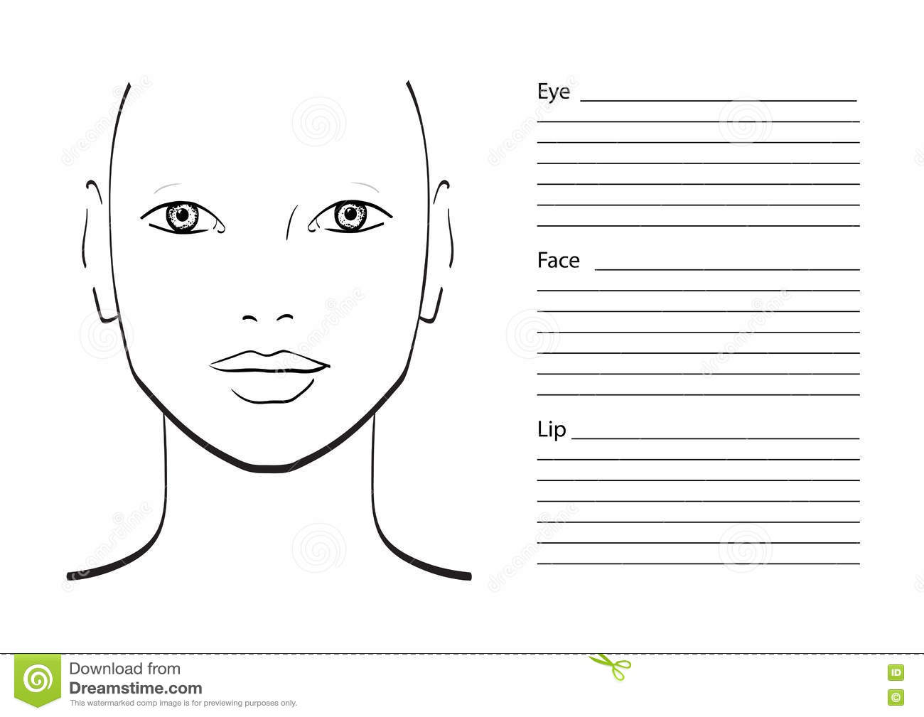 Face chart Makeup Artist Blank. Template. Vector ...