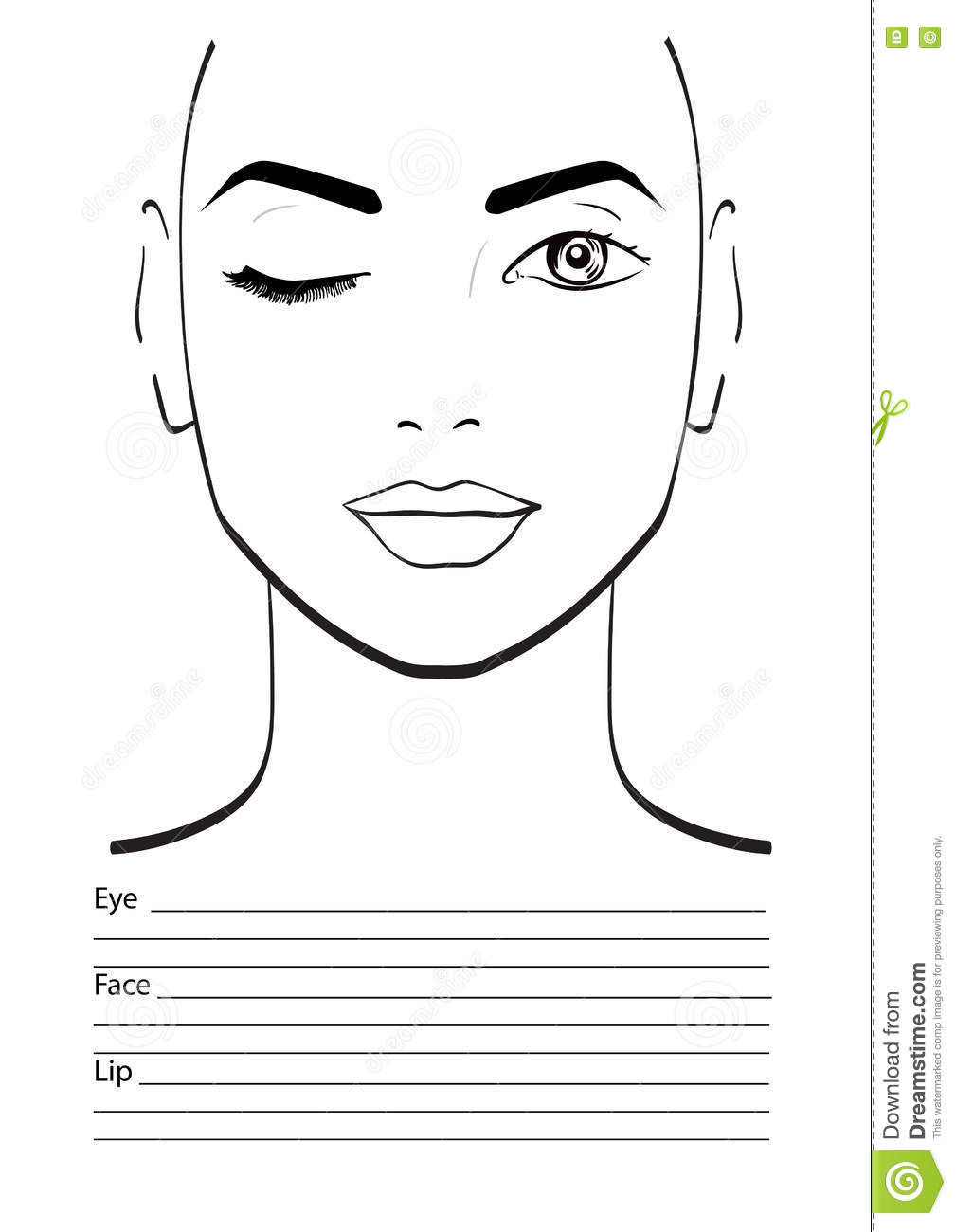 Face Chart Makeup Artist Blank. Stock Illustration - Illustration of ...