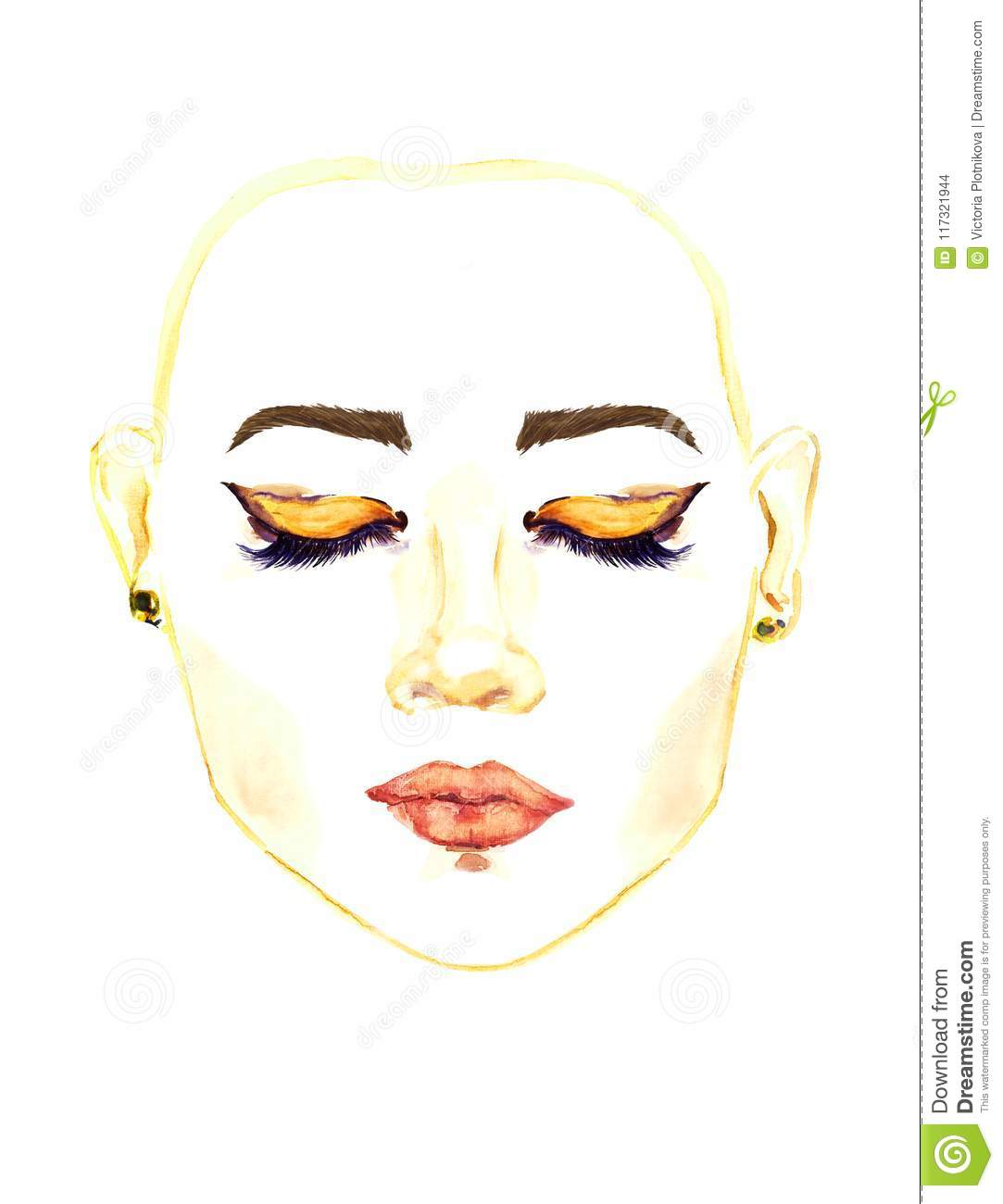 Face With Closed Eastern Almond Shaped Eyes With Makeup Golden